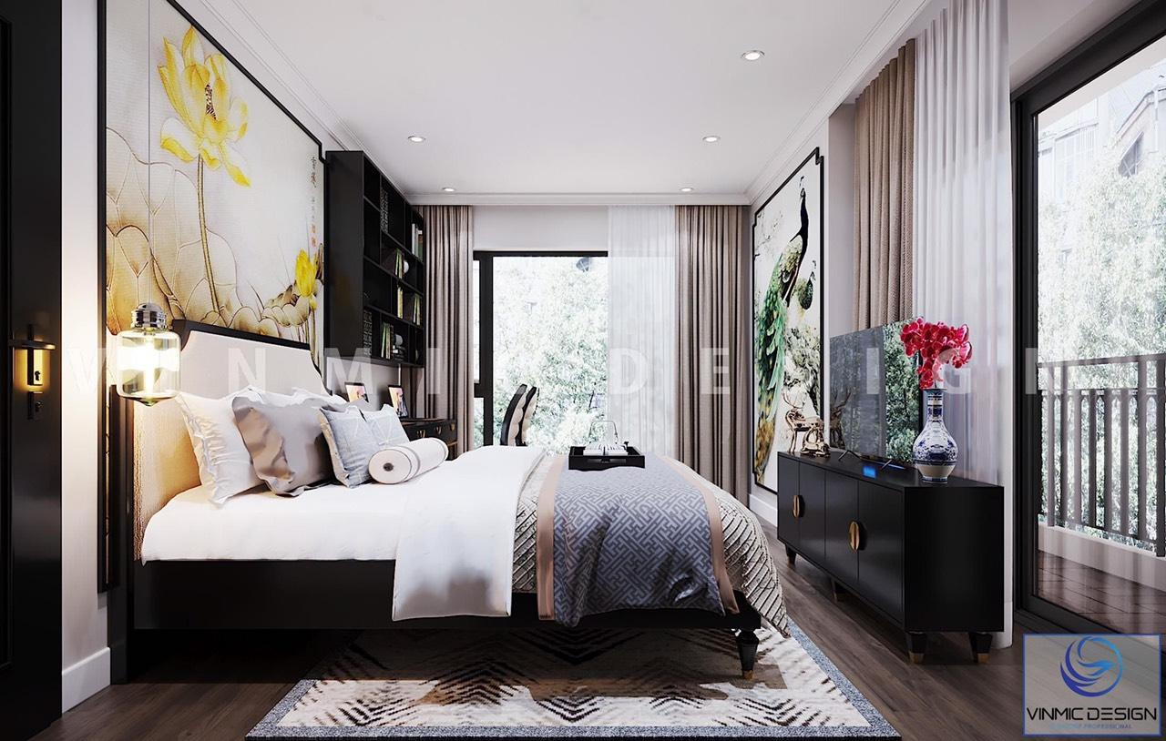 Phòng ngủ phong cách Á Đông đầy đủ tiện nghi