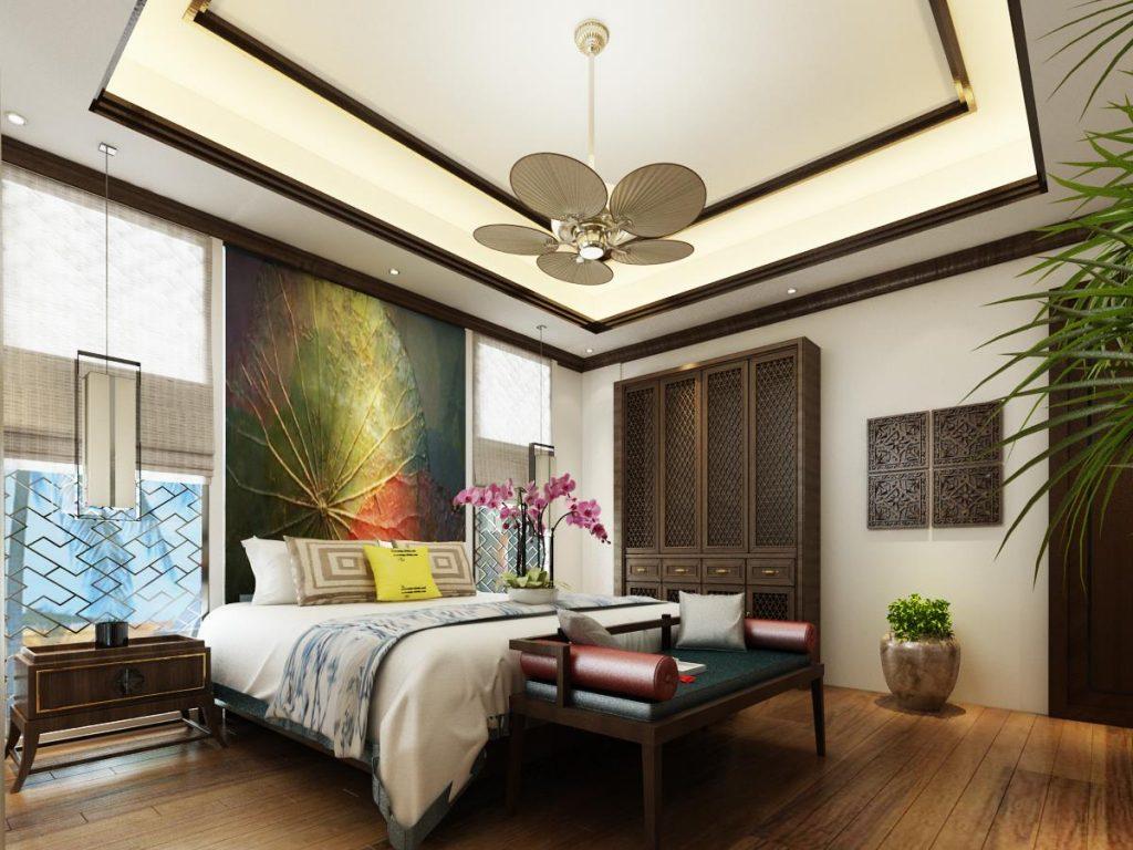 Phòng ngủ nhà anh Vinh được thiết kế theo phong cách Á Đông
