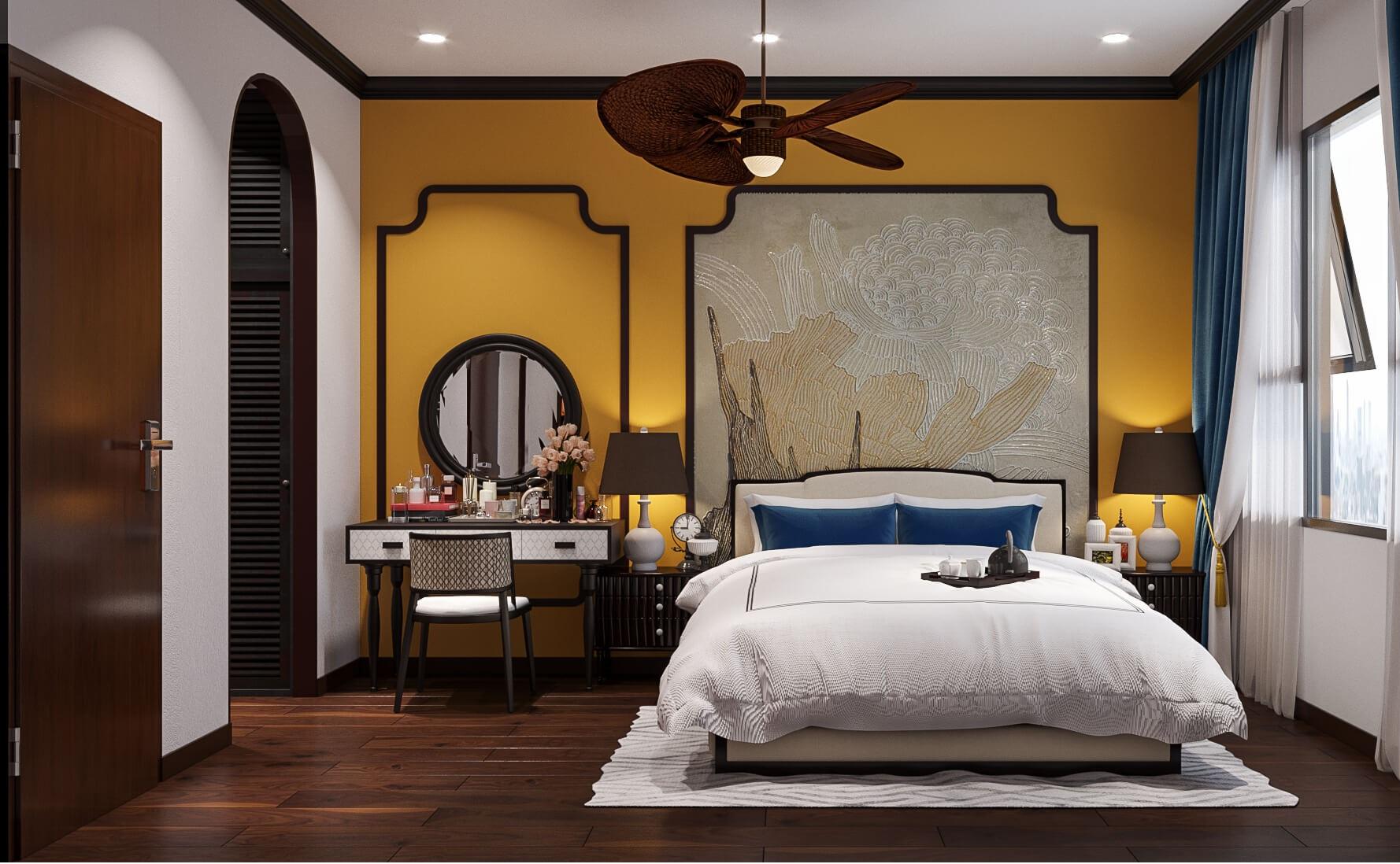 Thiết kế nội thất phòng ngủ sang trọng và ấn tượng, mang đậm phong cách Á Đông