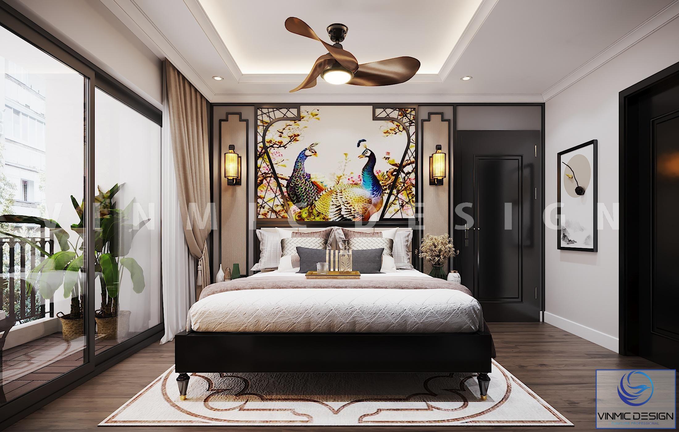 Thiết kế nội thất phòng ngủ master ấn tượng phong cách Indochine (Á Đông) tại Vinhomes Metropolis