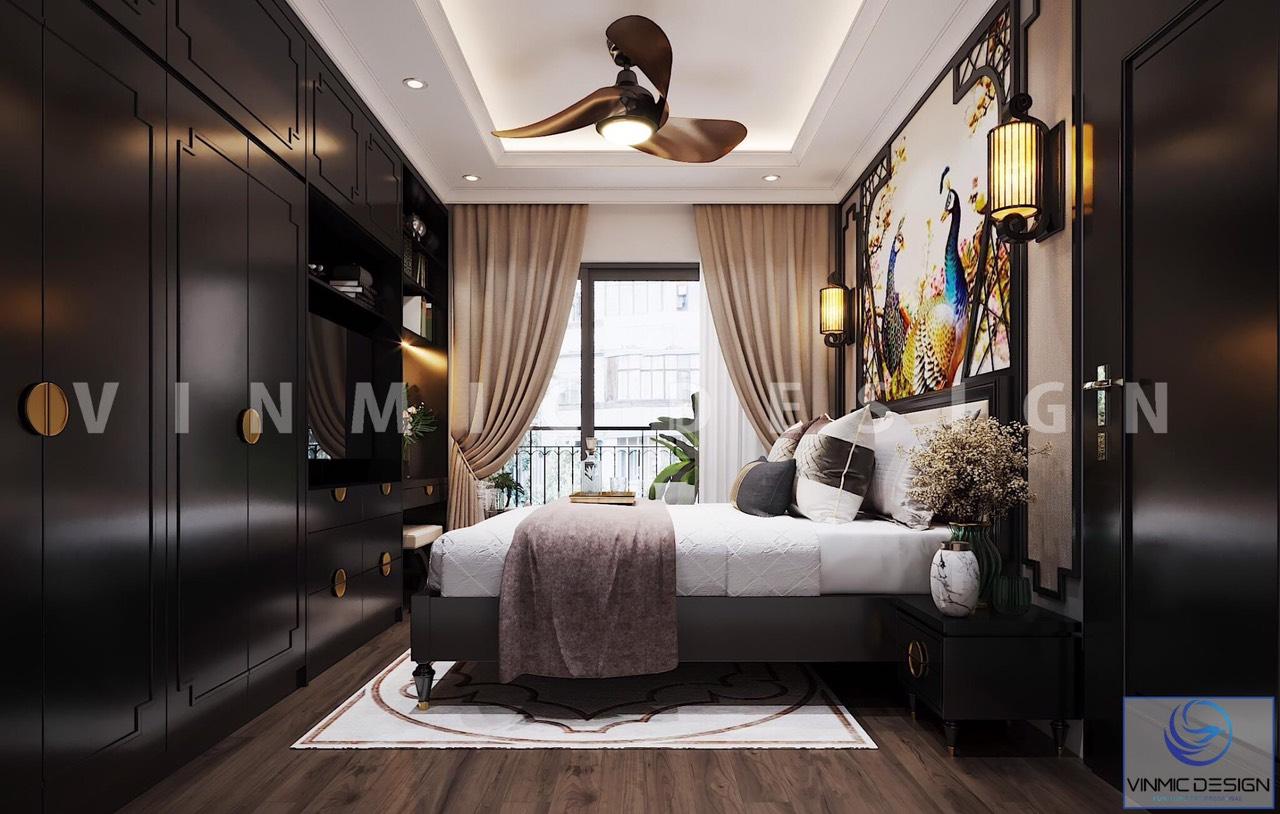 Thiết kế nội thất phòng ngủ master đậm chất Á Đông (phong cách Indochine) của gia đình anh Sơn