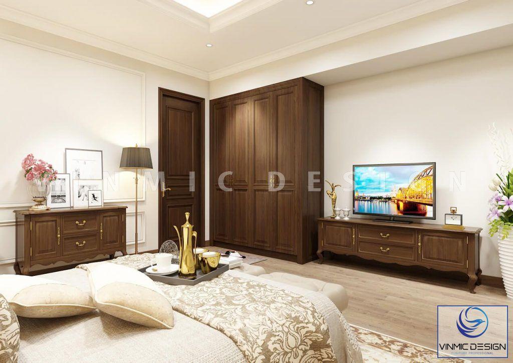 Thiết kế nội thất phòng ngủ phong cách tân cổ điển nhà anh Vinh