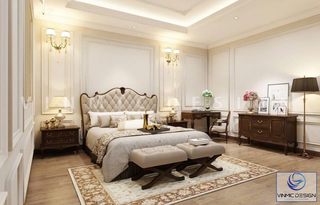 Thiết kế nội thất phòng ngủ phong cách tân cổ điển sang trọng nhà anh Vinh