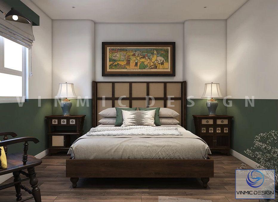 Phòng ngủ Á Đông với các đồ nội thất như giường ngủ, tab đầu giường,... đẹp cho căn hộ nhà anh Thành