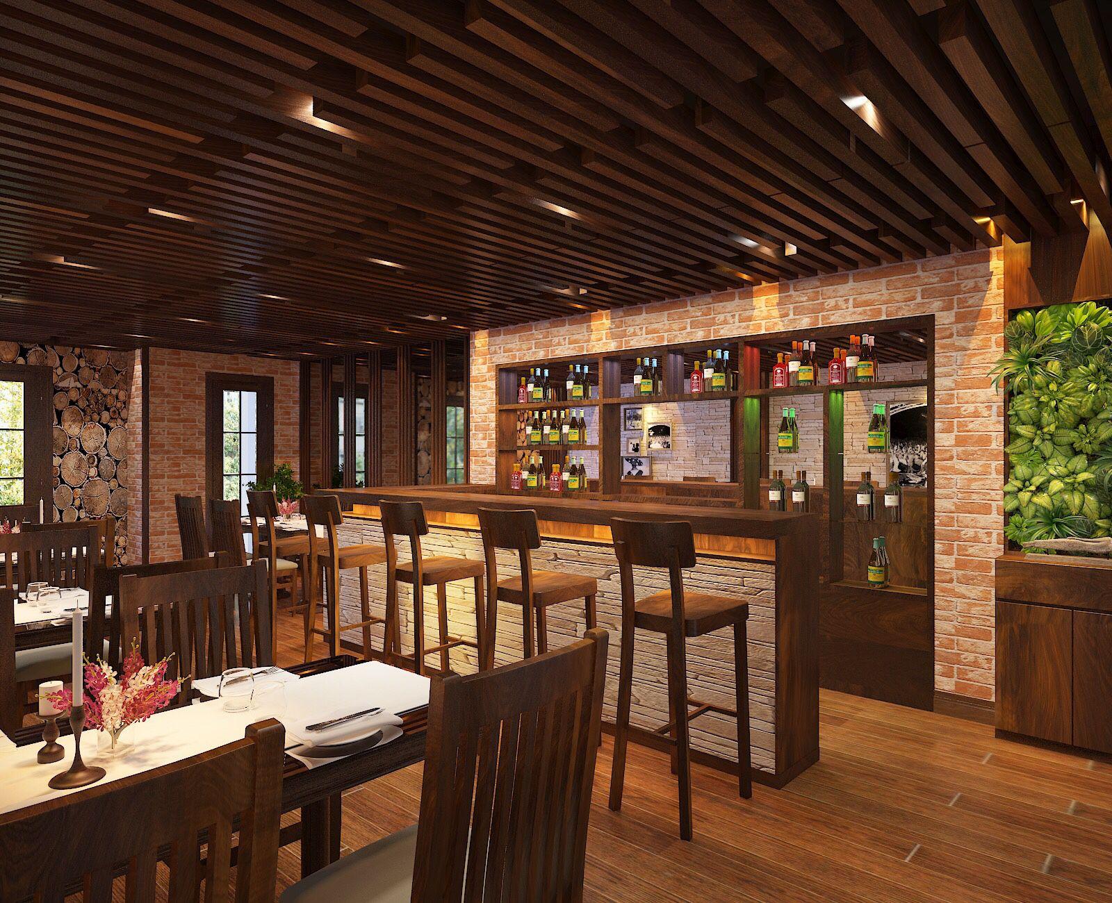Chất liệu sử dụng trong nội thất nhà hàng thường là gỗ tự nhiên