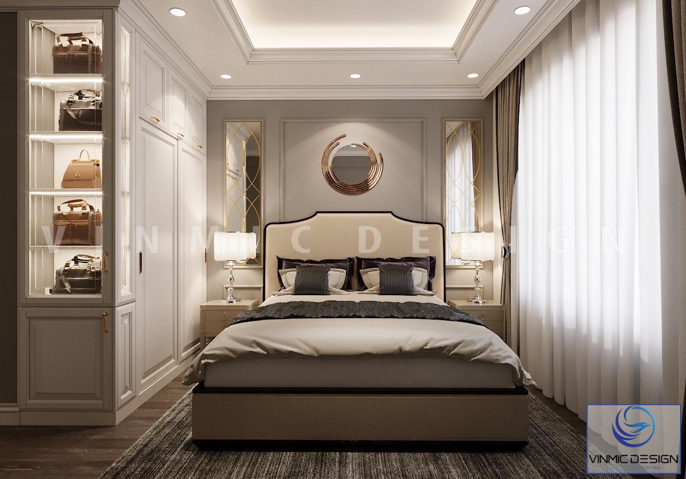 Thiết kế nội thất phòng ngủ master phong cách tân cổ điển đầy sang trọng