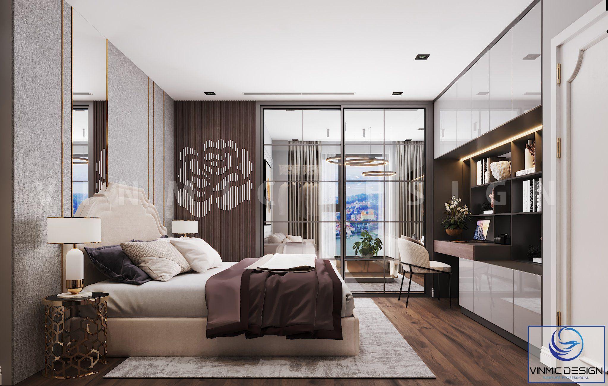 Thiết kế nội thất phòng ngủ master sang trọng, tinh tế của vợ chồng anh Bình tại chung cư Goldmark City