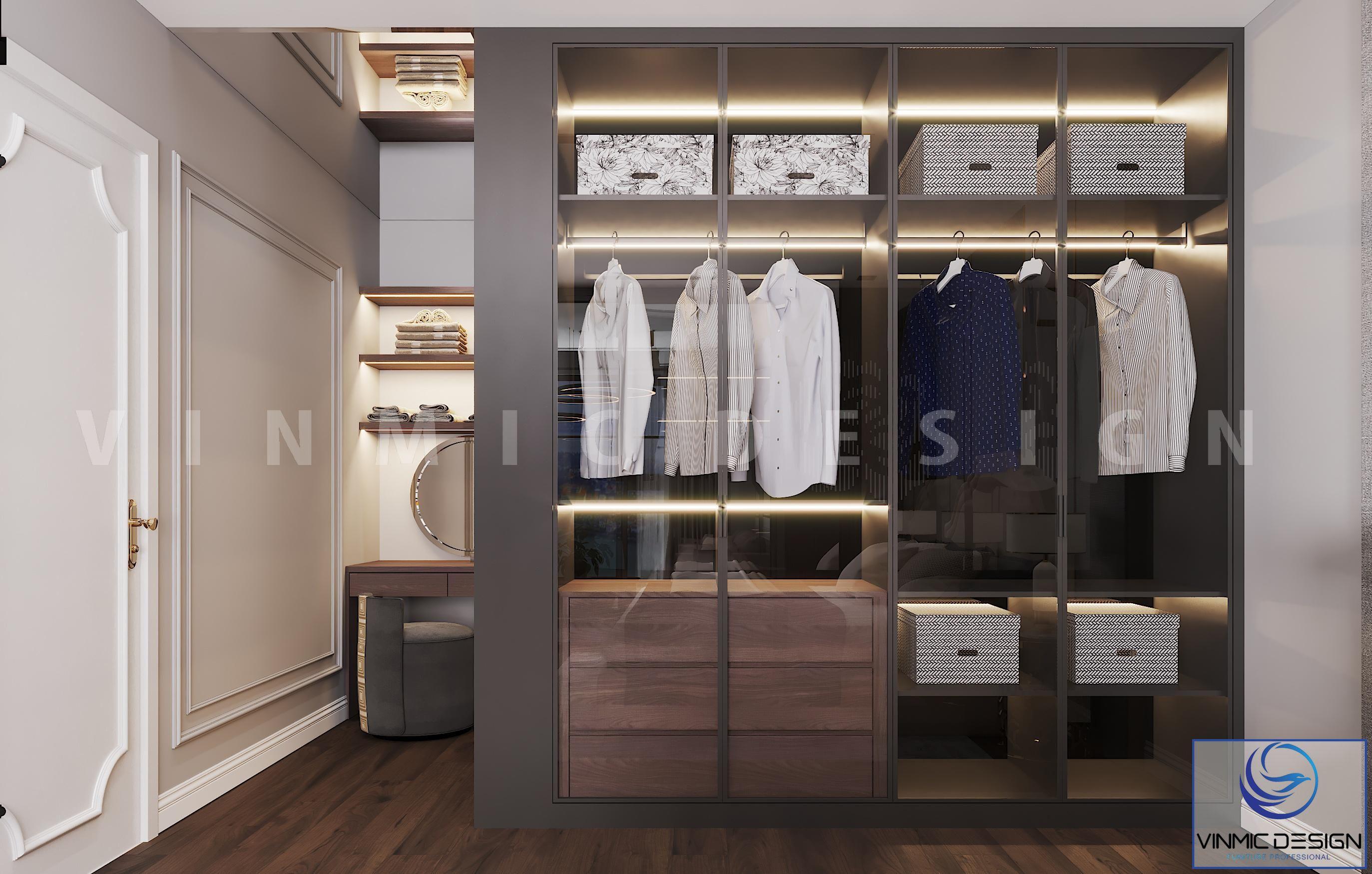 Nổi bật với tủ quần áo hiện đại trong công trình thiết kế nội thất chung cư Goldmark City