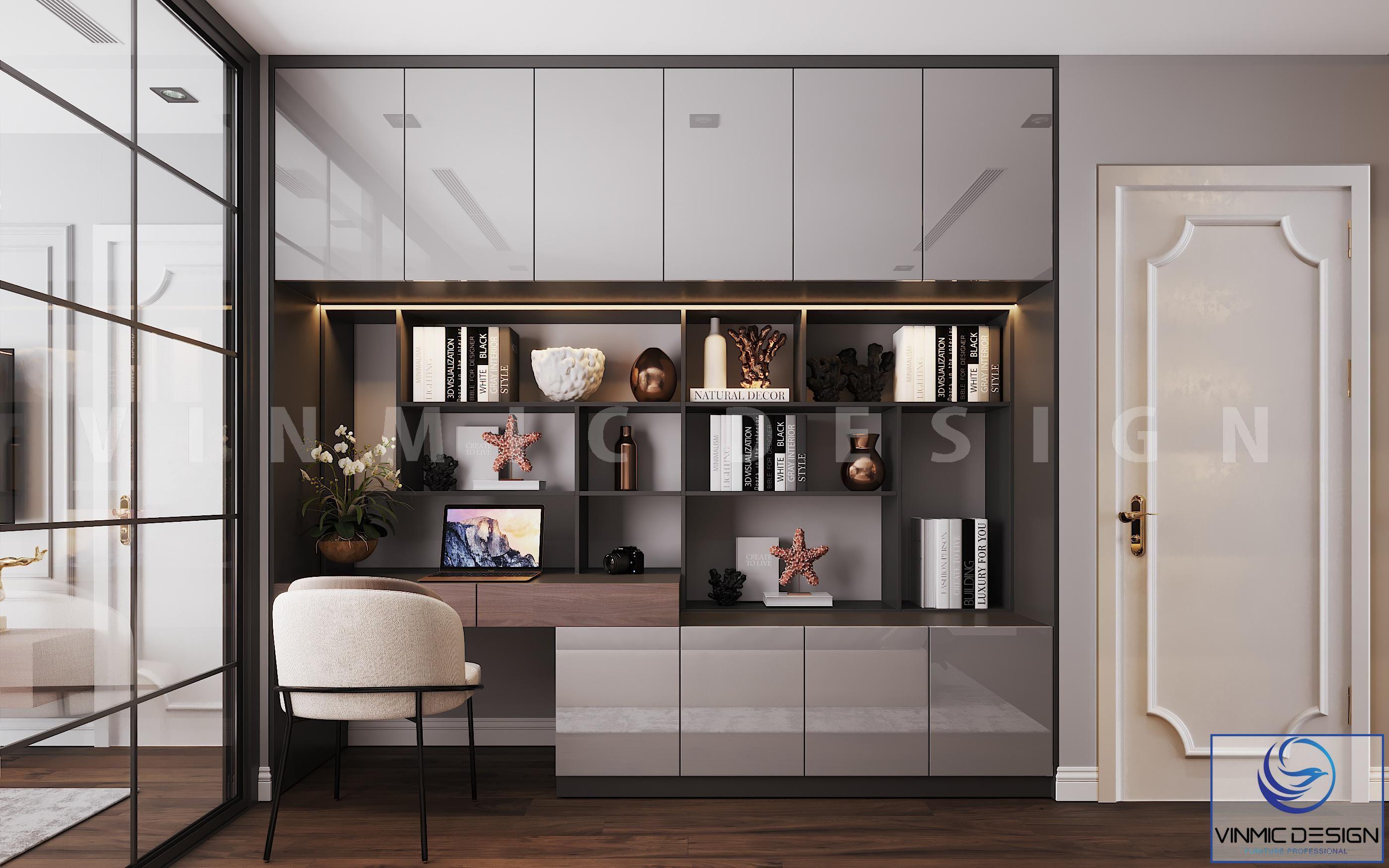 Tủ trang trí nhiều ngăn tiện nghi, sang trọng của phòng ngủ vợ chồng anh Bình