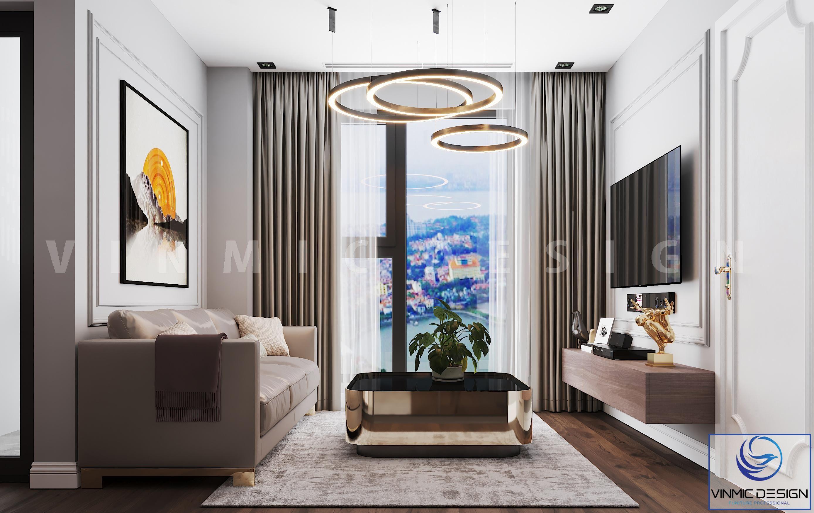 Thiết kế nội thất phòng khách sang trọng tại chung cư Goldmark City