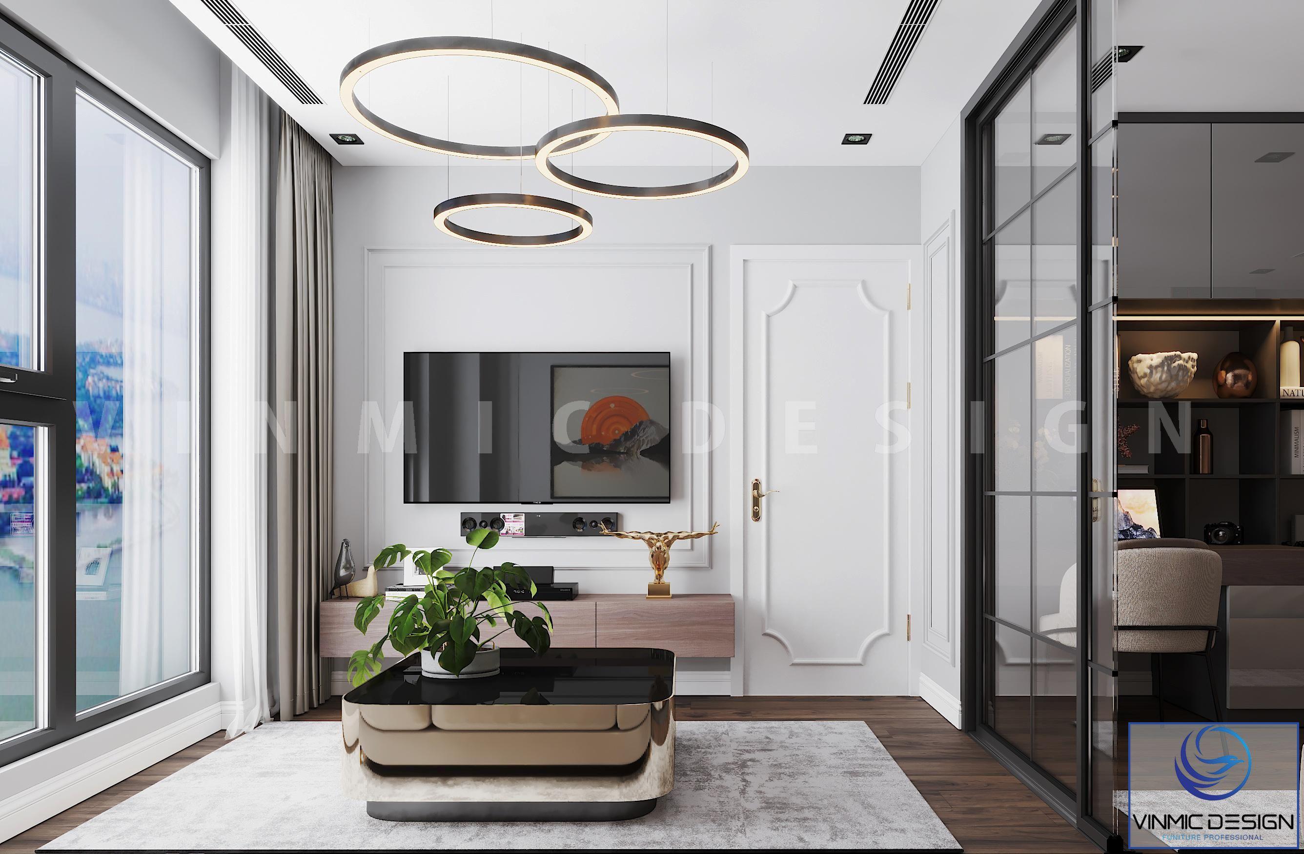 Thiết kế nội thất phòng khách ấn tượng tại chung cư Goldmark City