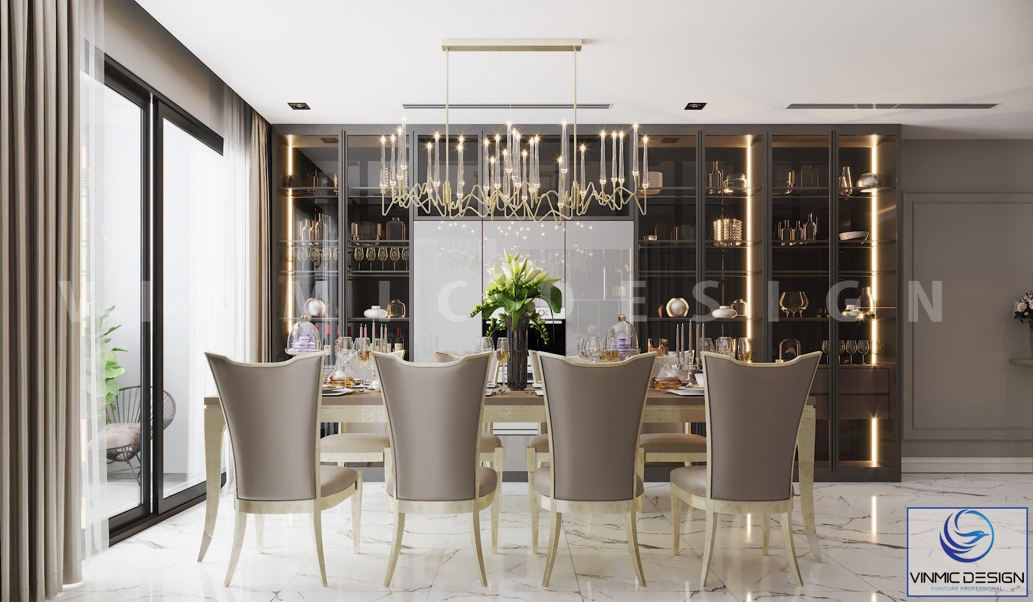 Phòng ăn ấn tượng trong mẫu thiết kế chung cư tân cổ điển của gia đình anh Bình