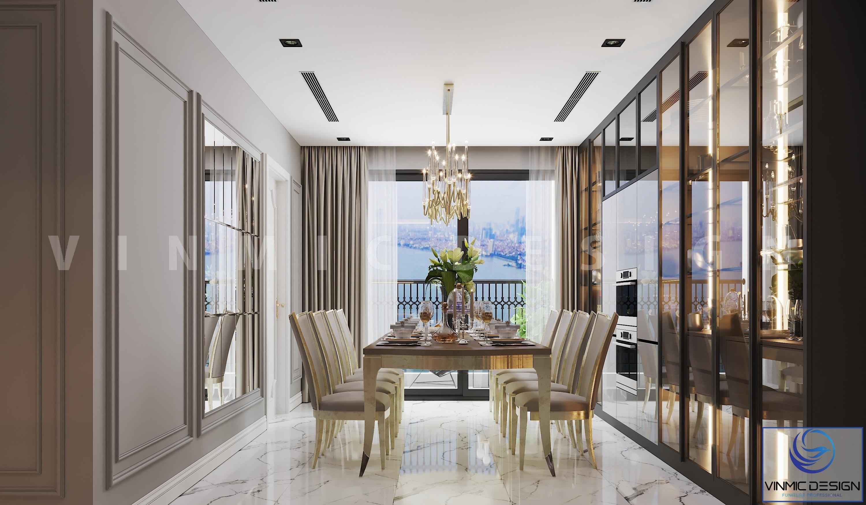 Thiết kế chung cư phong cách tân cổ điển có phòng ăn hài hòa, sang trọng của gia đình anh Bình
