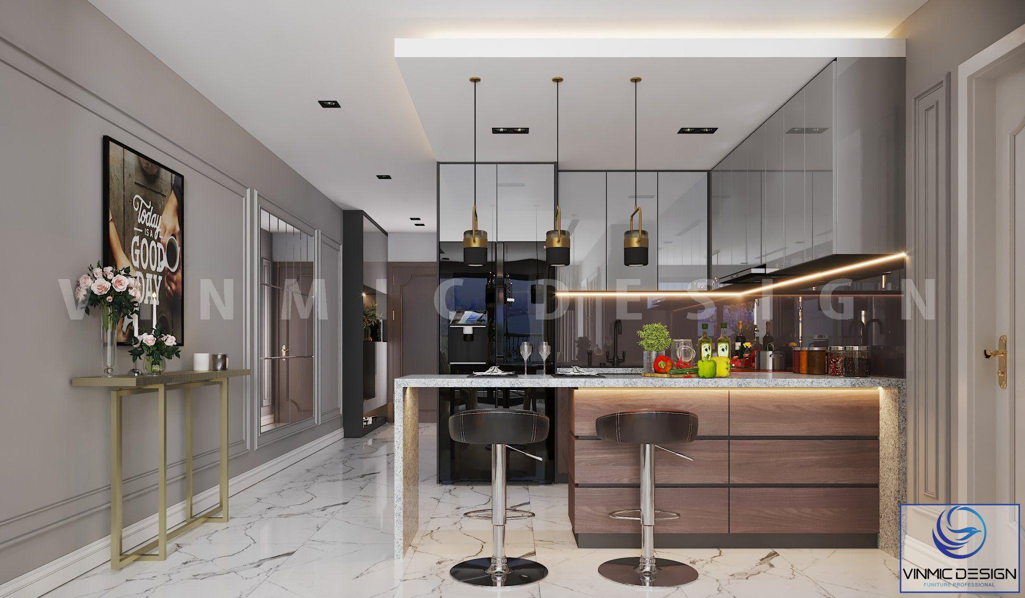 Thiết kế nội thất phòng bếp tiện nghi tại chung cư Goldmark City