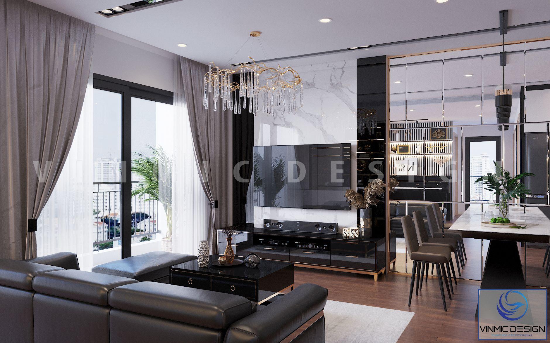 Thiết kế vách ốp kệ tivi với tone màu trắng đen nổi bật và sang trọng tại chung cư Vinhomes Ocean Park