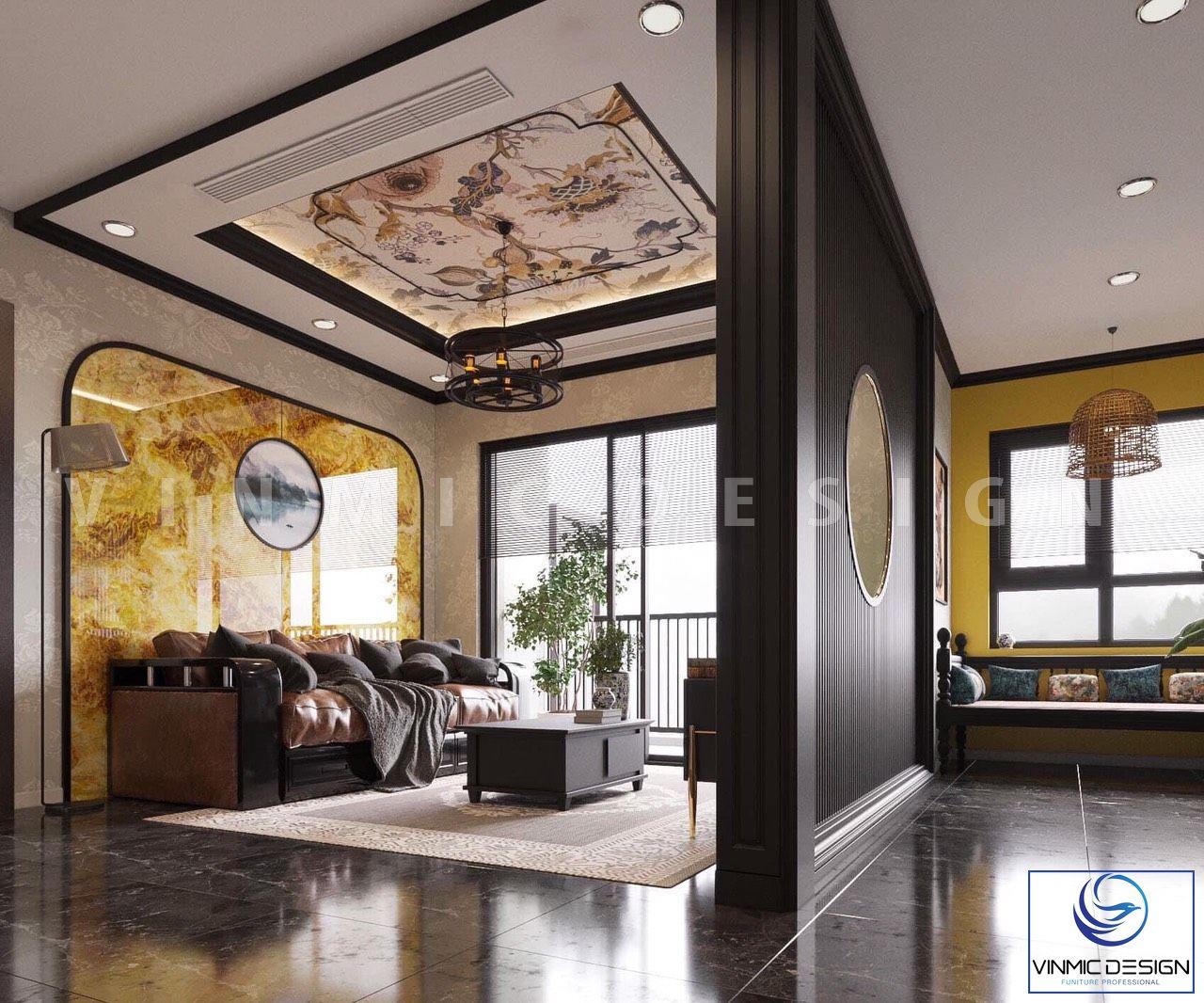 Đá ốp tường nổi bật cho nhà có phong cách Á Đông (Indochine) của cô Hương