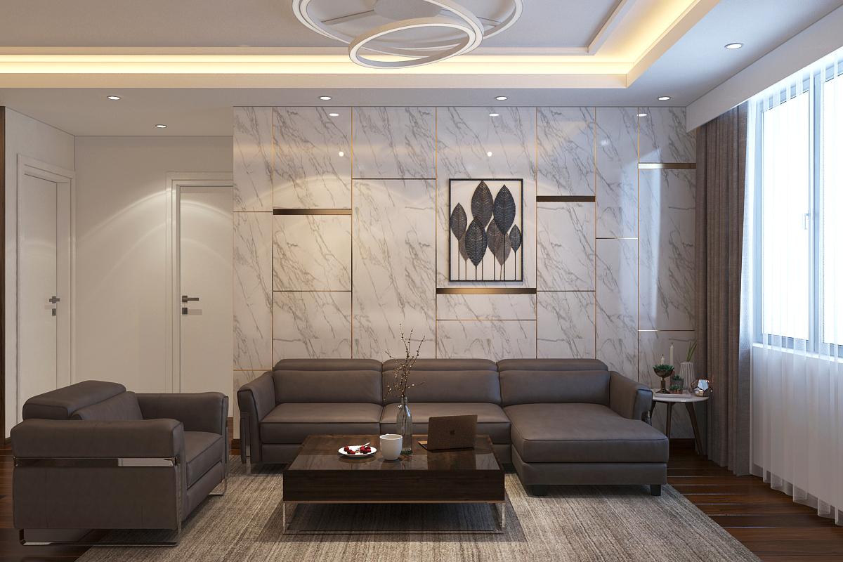 Đá ốp trang trí phòng khách giúp không gian thêm sang trọng, hiện đại