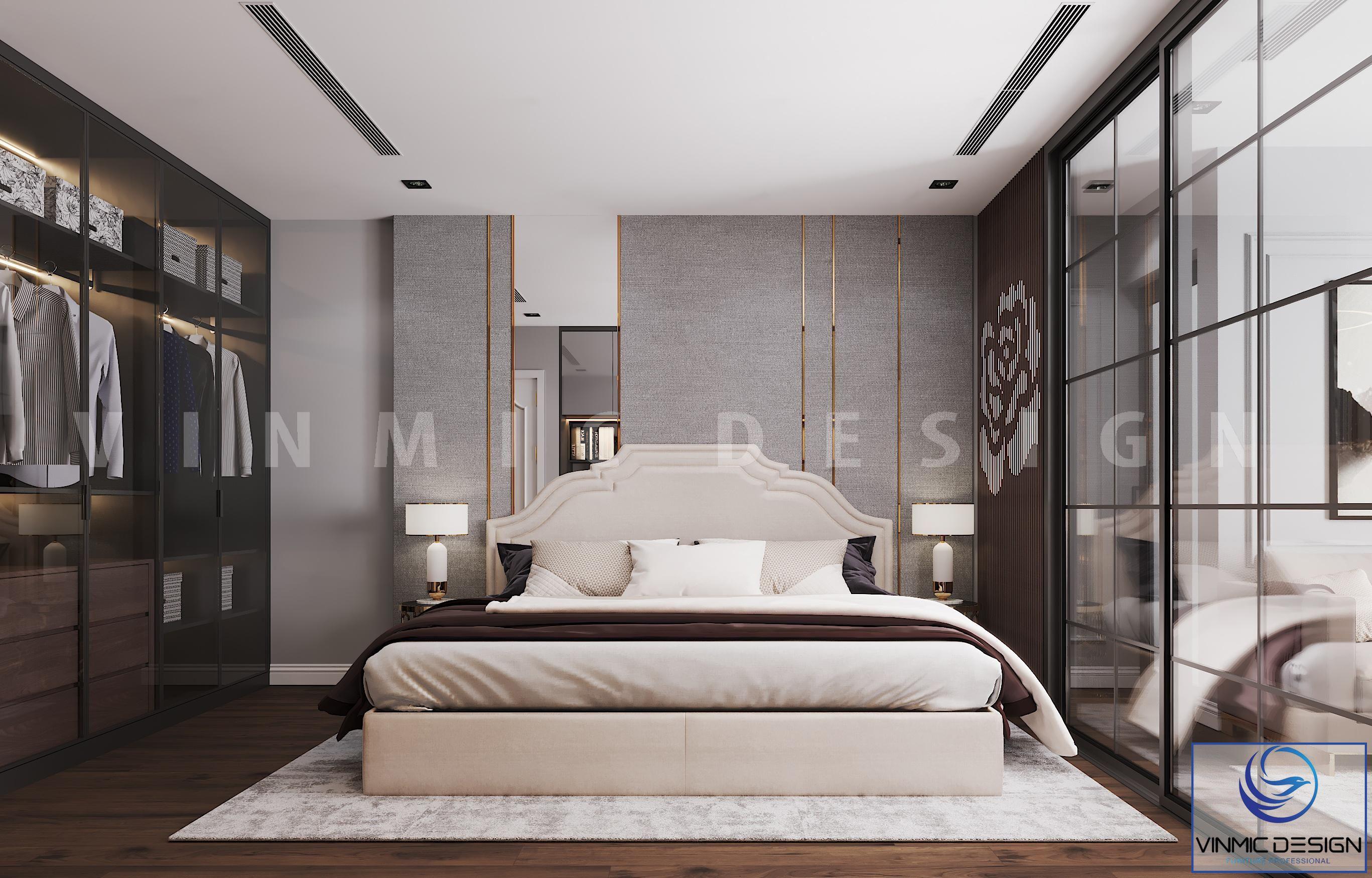 Phòng ngủ đẹp hơn với thiết kế vách ốp tường sang trọng, hiện đại tại chung cư Goldmark City