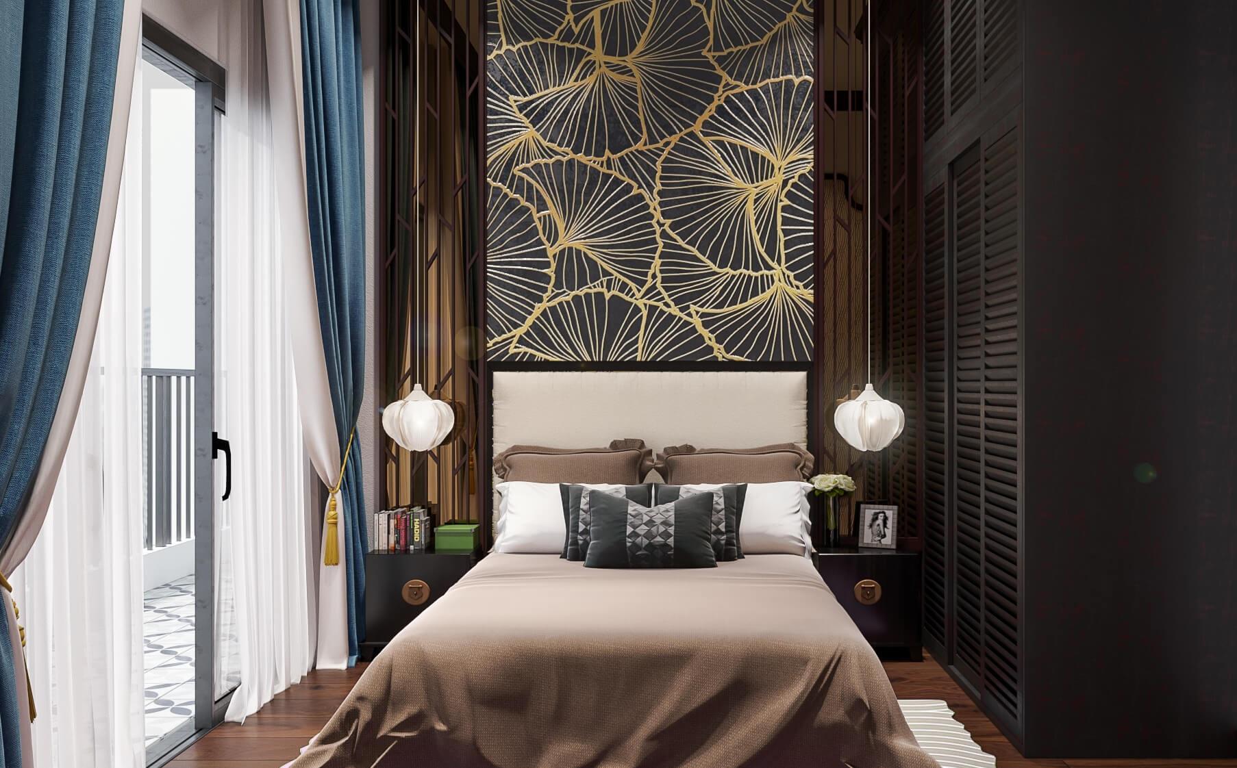 Thiết kế phòng ngủ phong cách Á Đông sang trọng, tiện nghi cho căn hộ cô Hoa