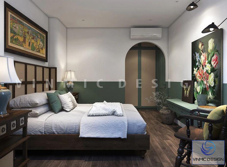 Thiết kế phòng ngủ phong cách Á Đông với tone màu xanh ấn tượng
