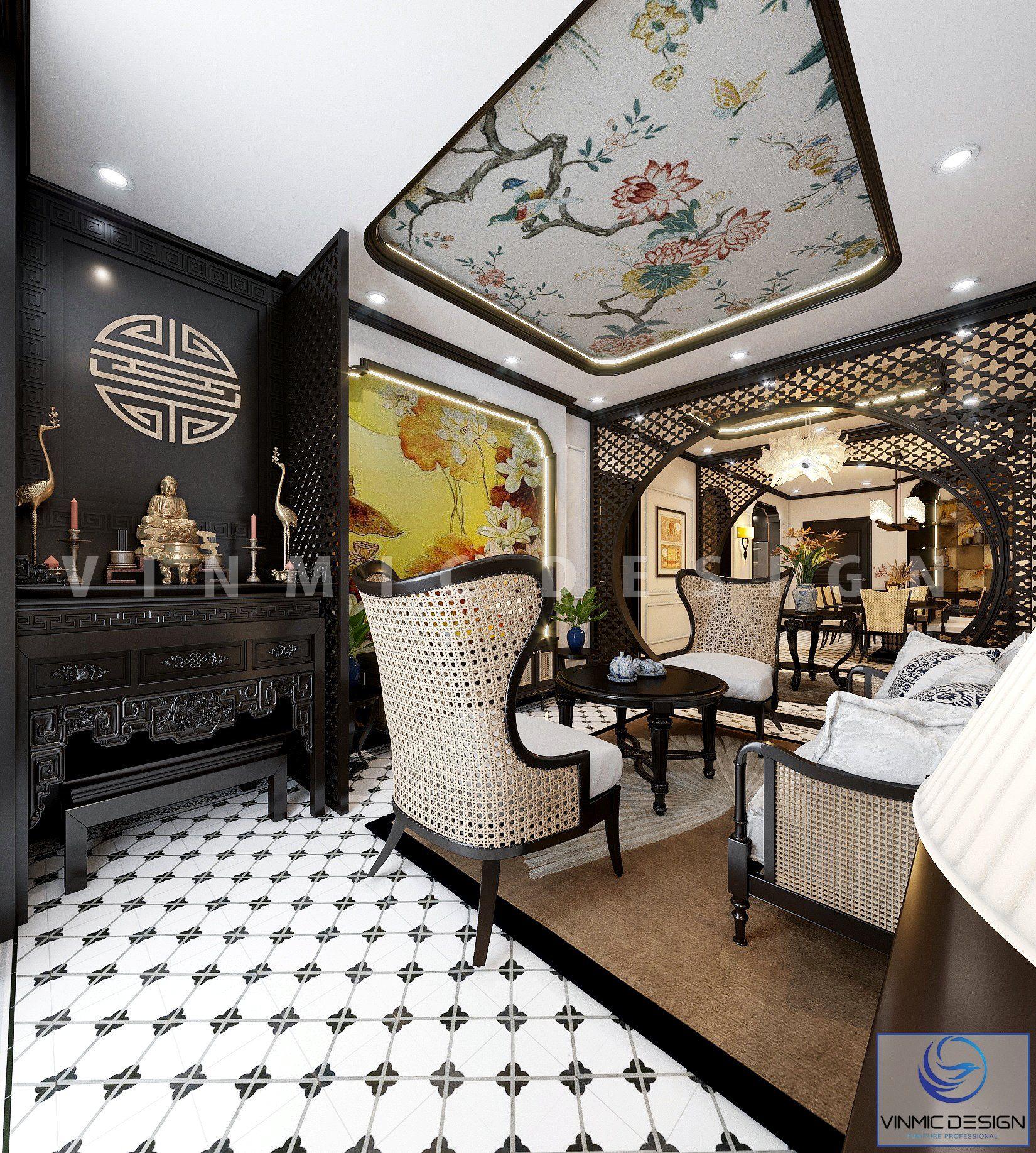 Thiết kế nội thất phòng khách Á Đông (Indochine) với hệ thống ánh sáng liên kết, đèn trang trí và trần thiết kế ấn tượng