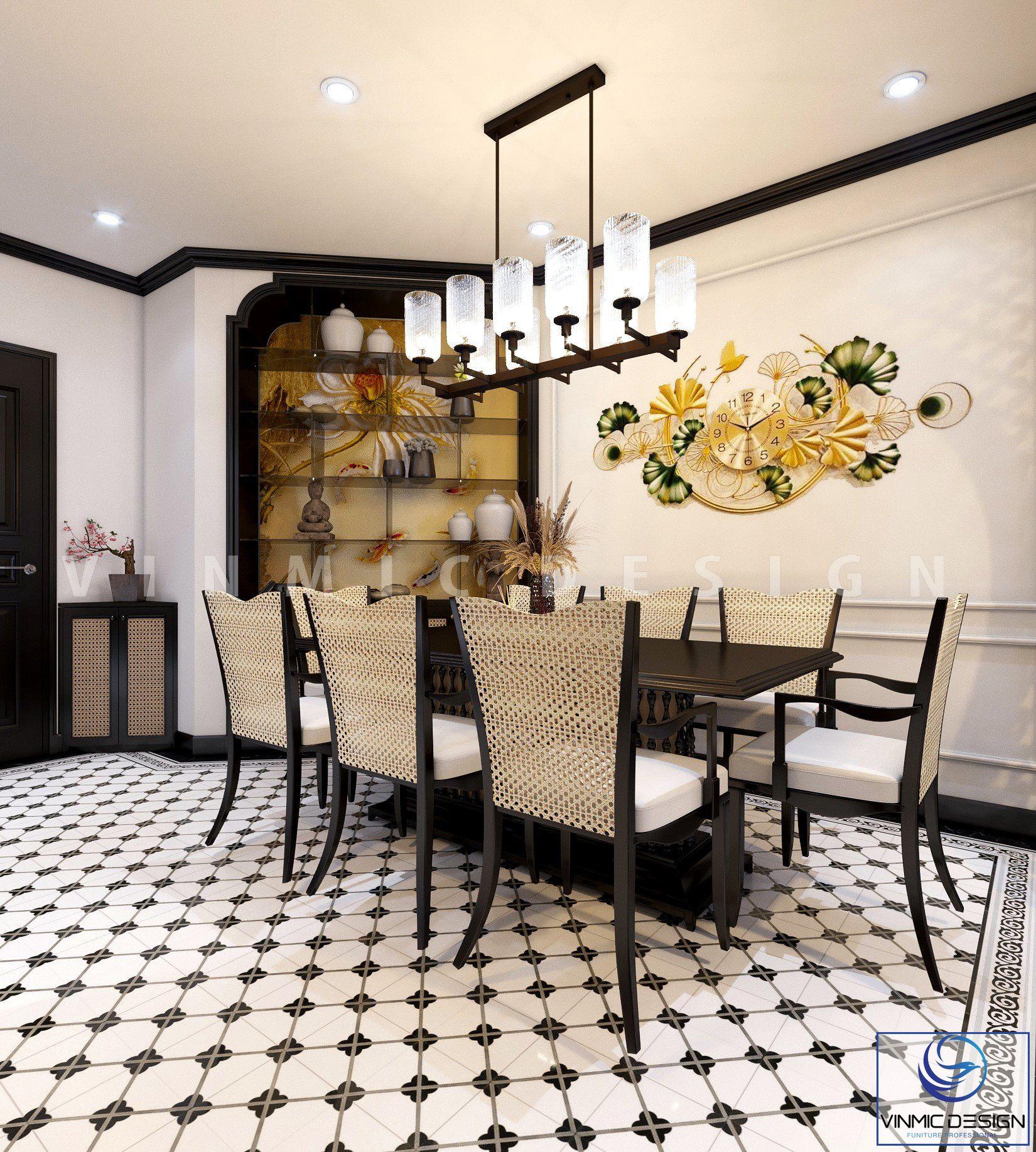 Thiết kế nội thất phòng ăn tinh tế, đầy ý nghĩa tại căn hộ chung cư Sunshine Garden