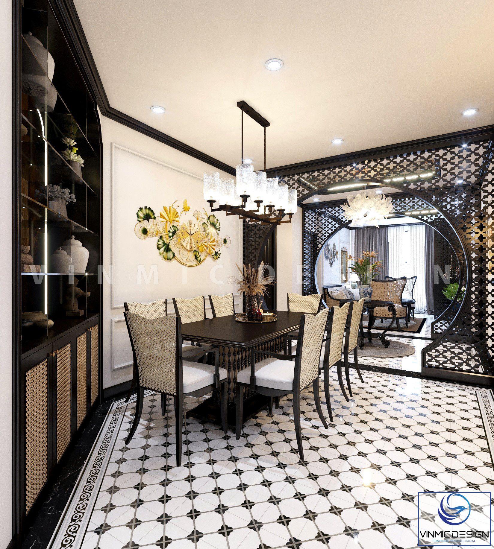 Không gian đẹp nối phòng khách - sảnh - phòng ăn tinh tế của căn hộ nhà anh Minh