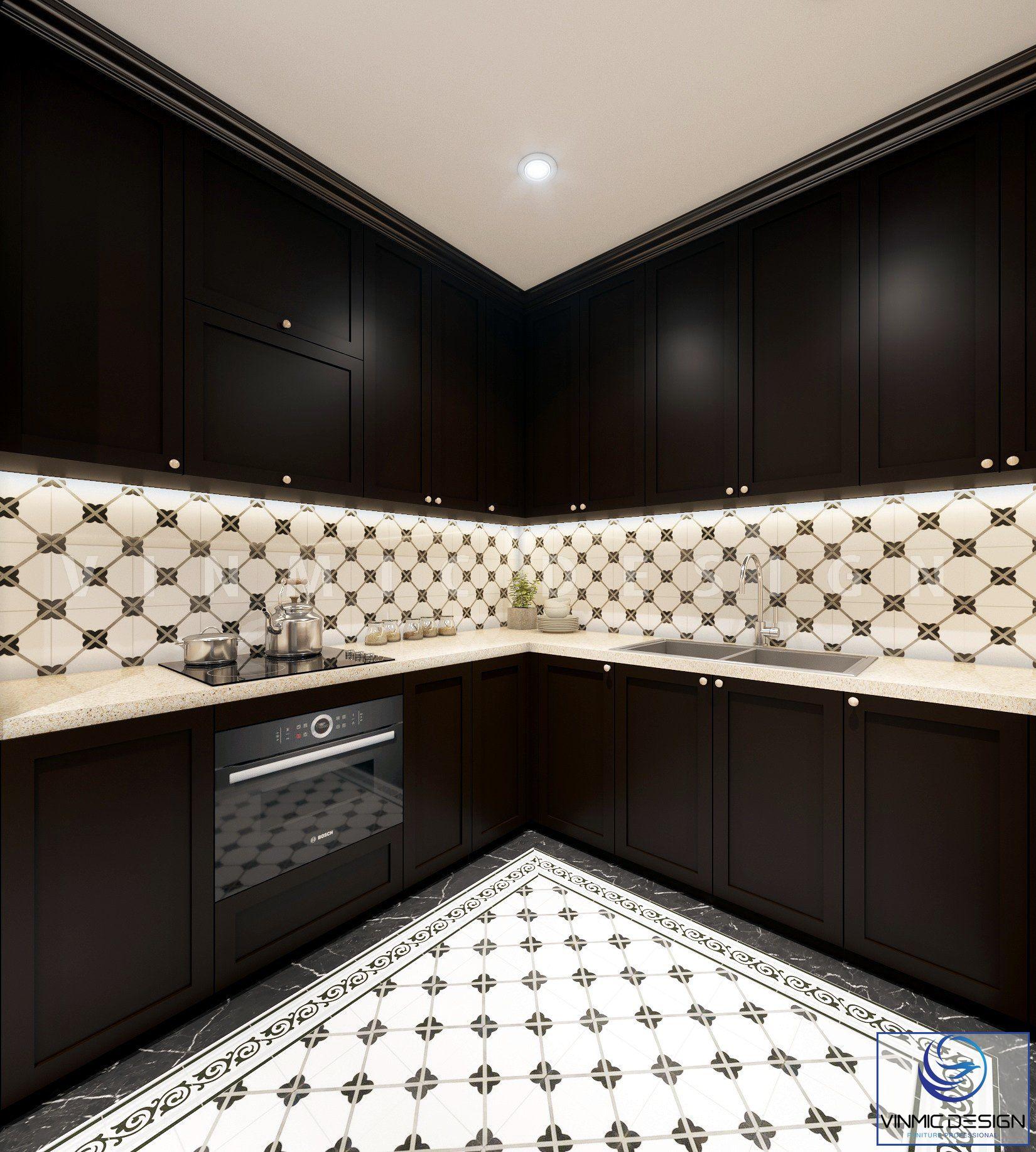 Tủ bếp với tone màu đen đặc trưng tại căn hộ chung cư Sunshine Garden