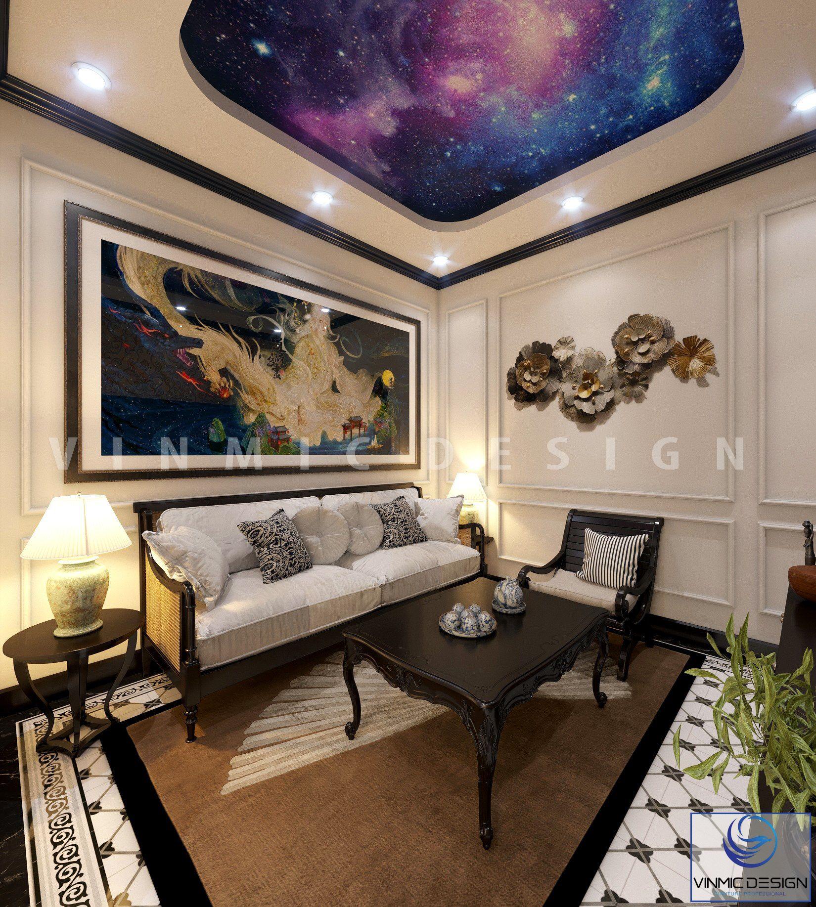 Thiết kế nội thất phòng giải trí phong cách Á Đông đẹp tại chung cư Sunshine Garden