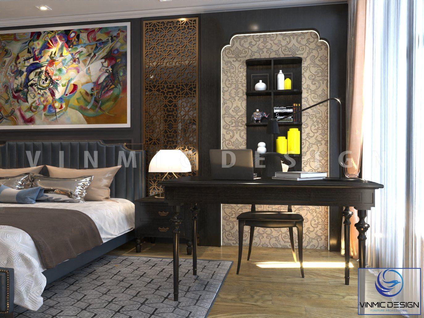 Bàn làm việc với tone màu đen mang đậm chất Á Đông tinh tế tại căn hộ chung cư Sunshine Garden
