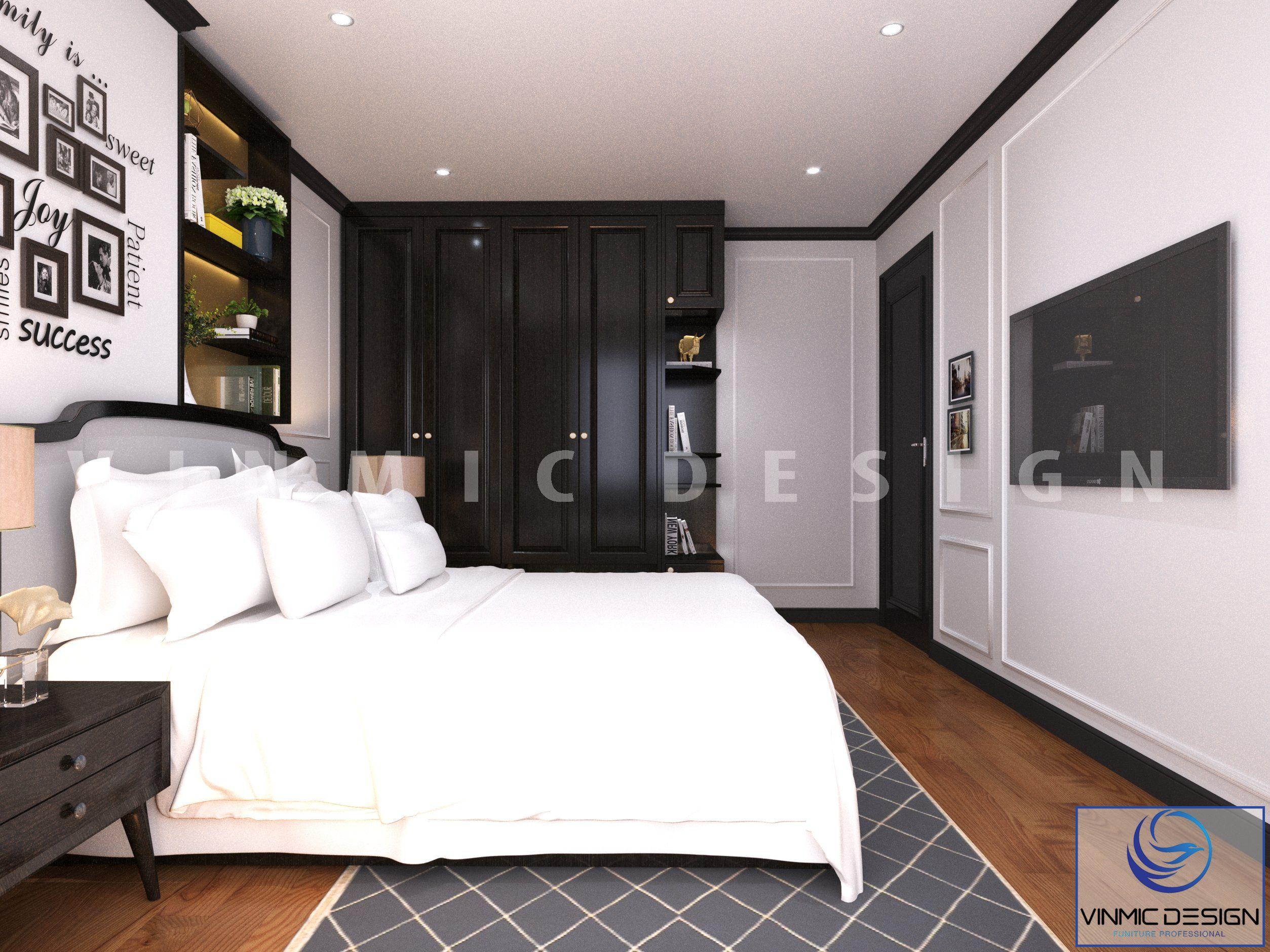 Phòng ngủ cho khách được thiết kế tinh tế tại căn hộ Sunshine Garden