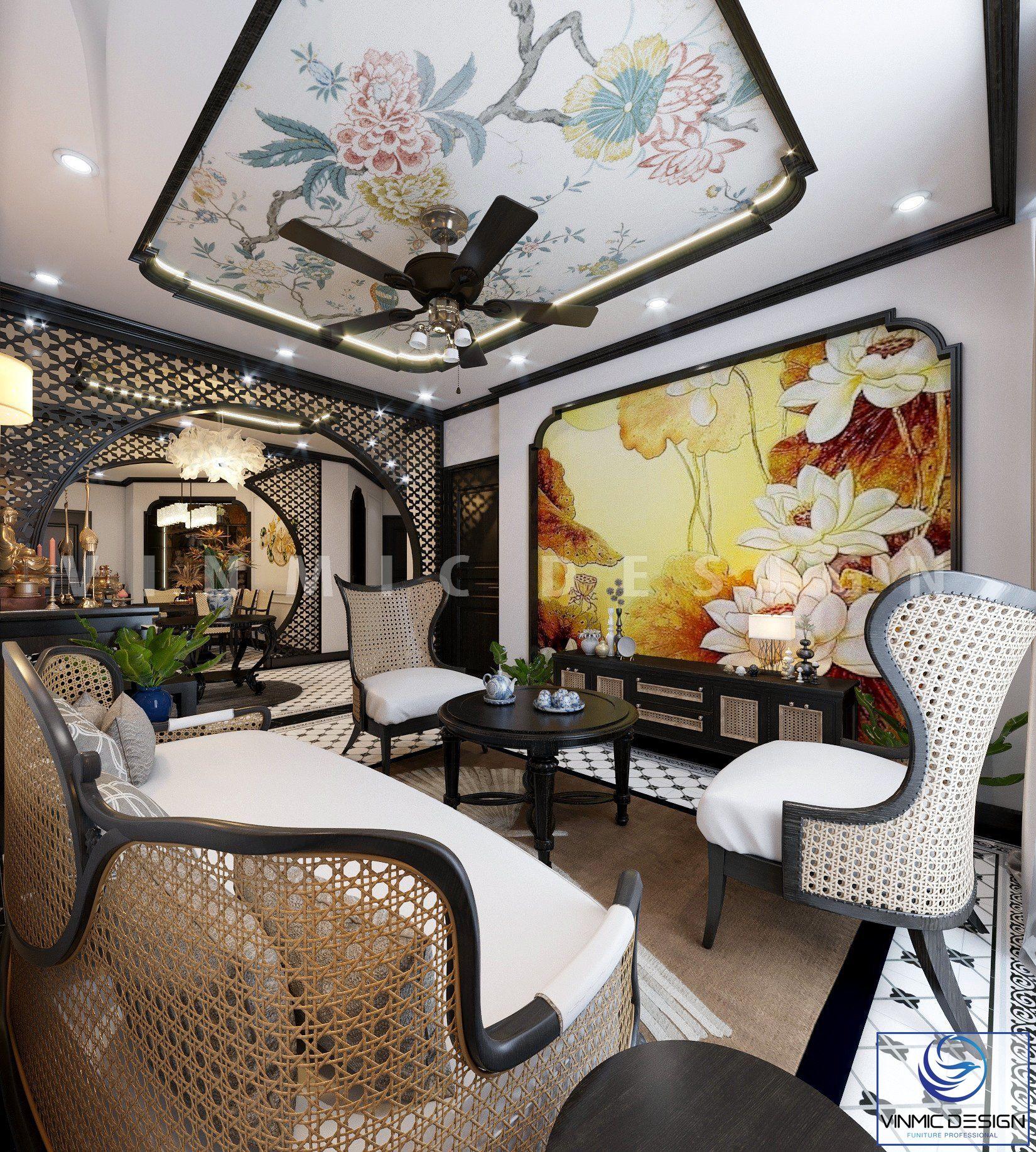 Thiết kế nội thất phòng khách đẹp với thiết kế hoa sen chủ đạo tinh tế