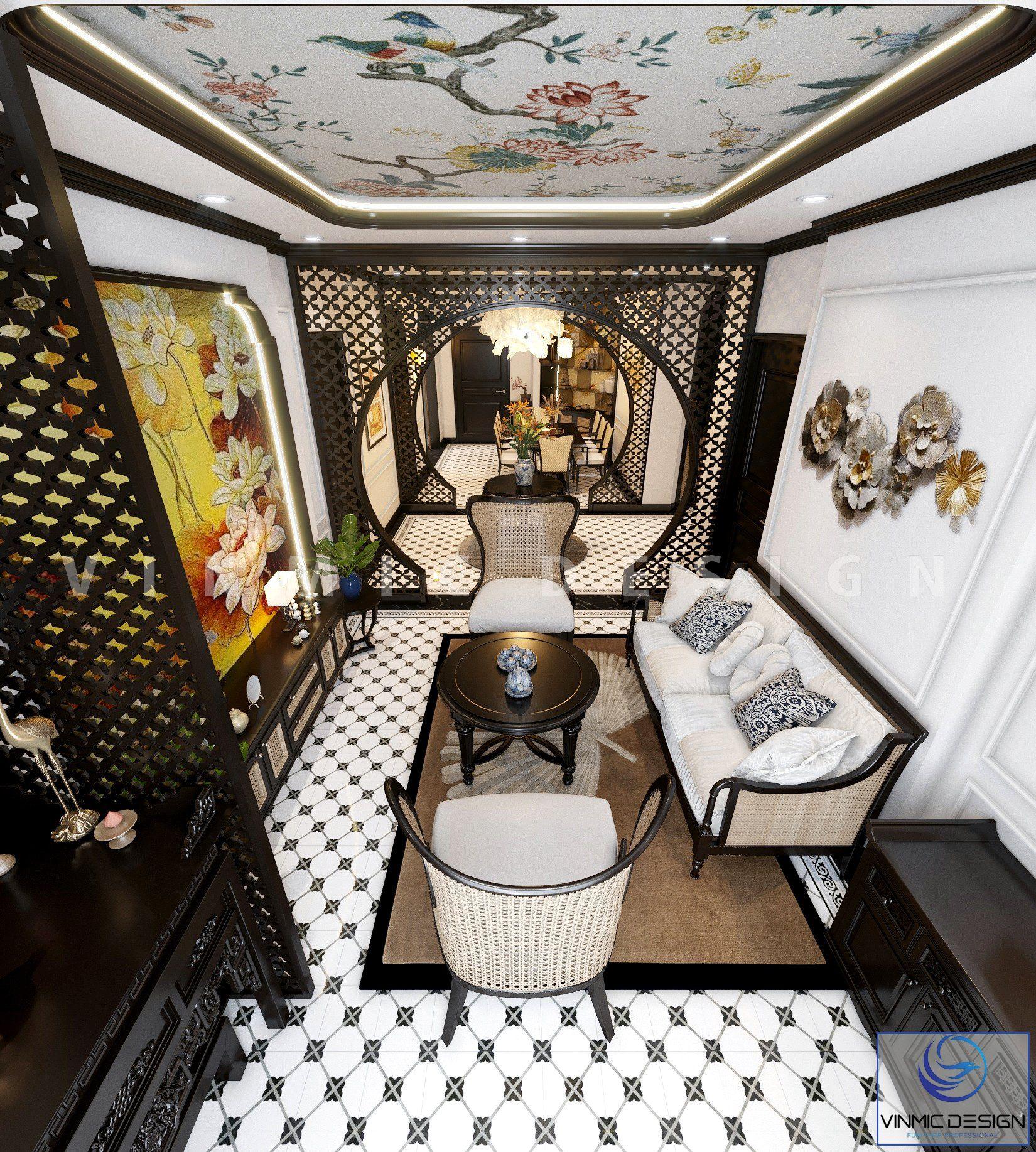 Không gian mở với hướng thiết kế liên kết, nối liền ấn tượng mang đậm chất Indochine tại căn hộ Sunshine Garden