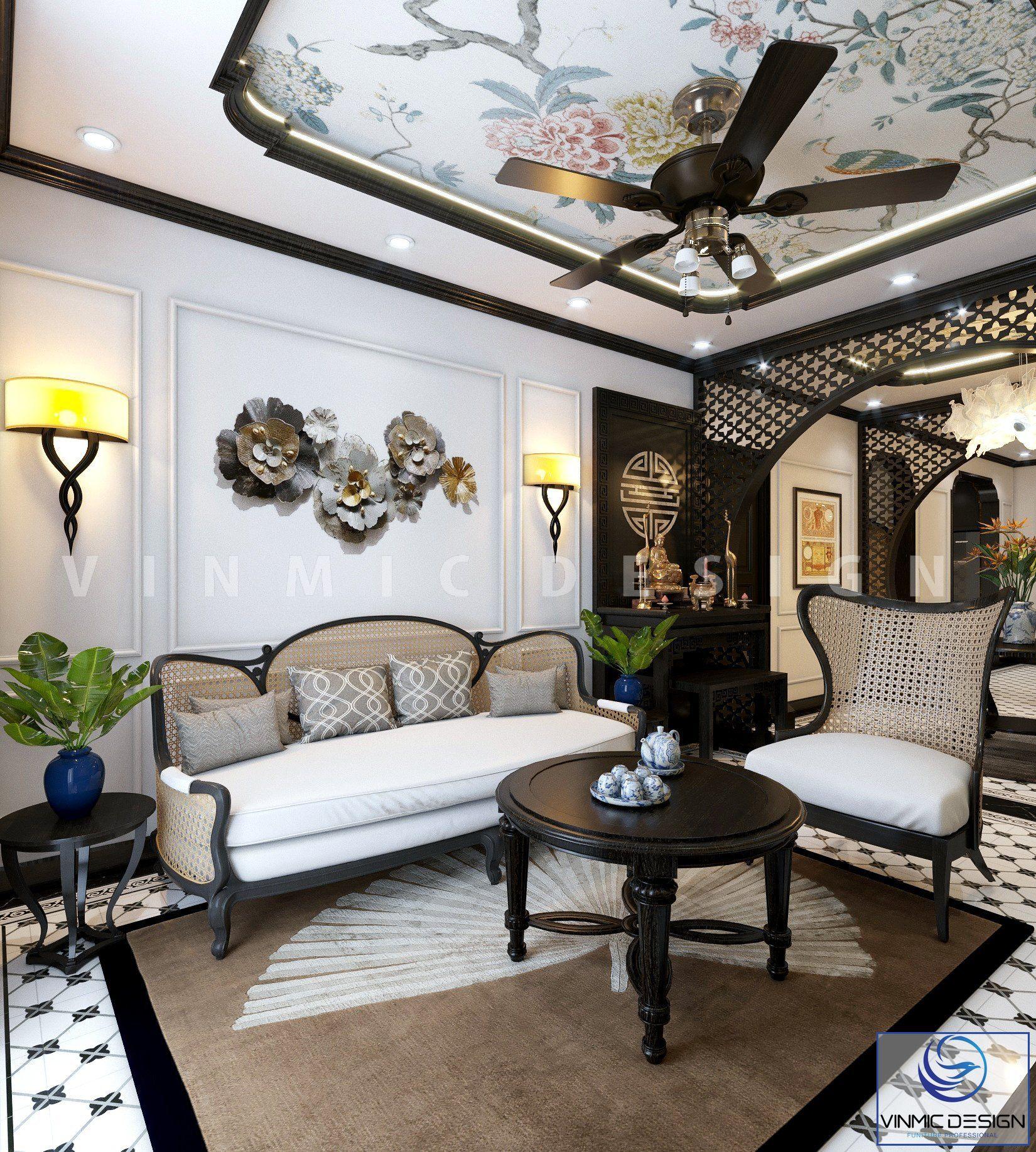 Bộ bàn ghế sofa tinh tế, lạ mắt mang lại sự ấn tượng cho căn hộ chung cư tại Sunshine Garden