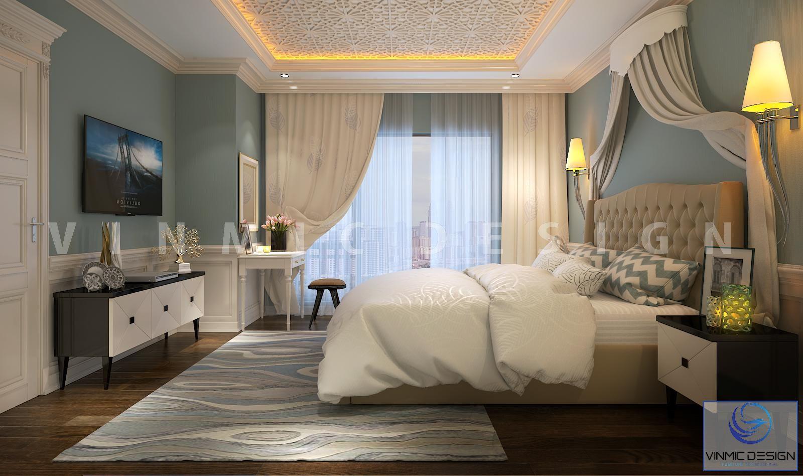 Thiết kế nội thất phòng ngủ tân cổ điển sang trọng, tiện nghi