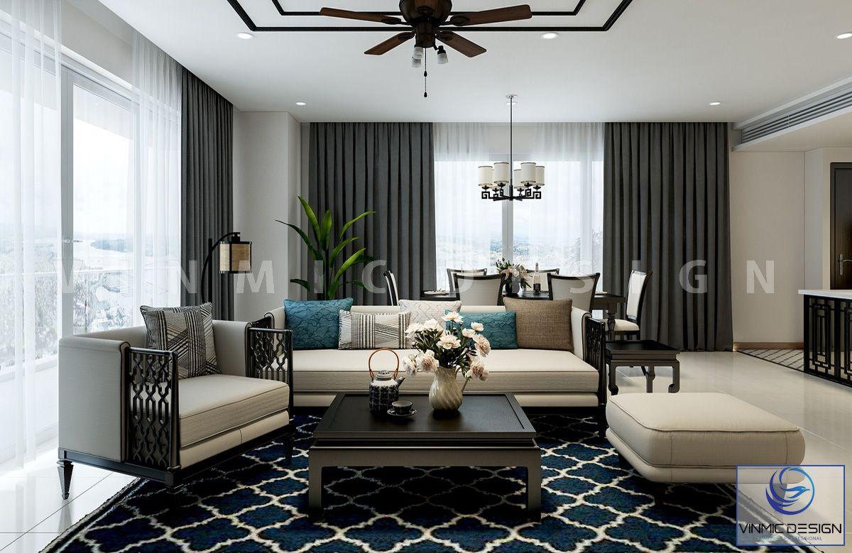 Thiết kế nội thất phòng khách phong cách Á Đông tinh tế