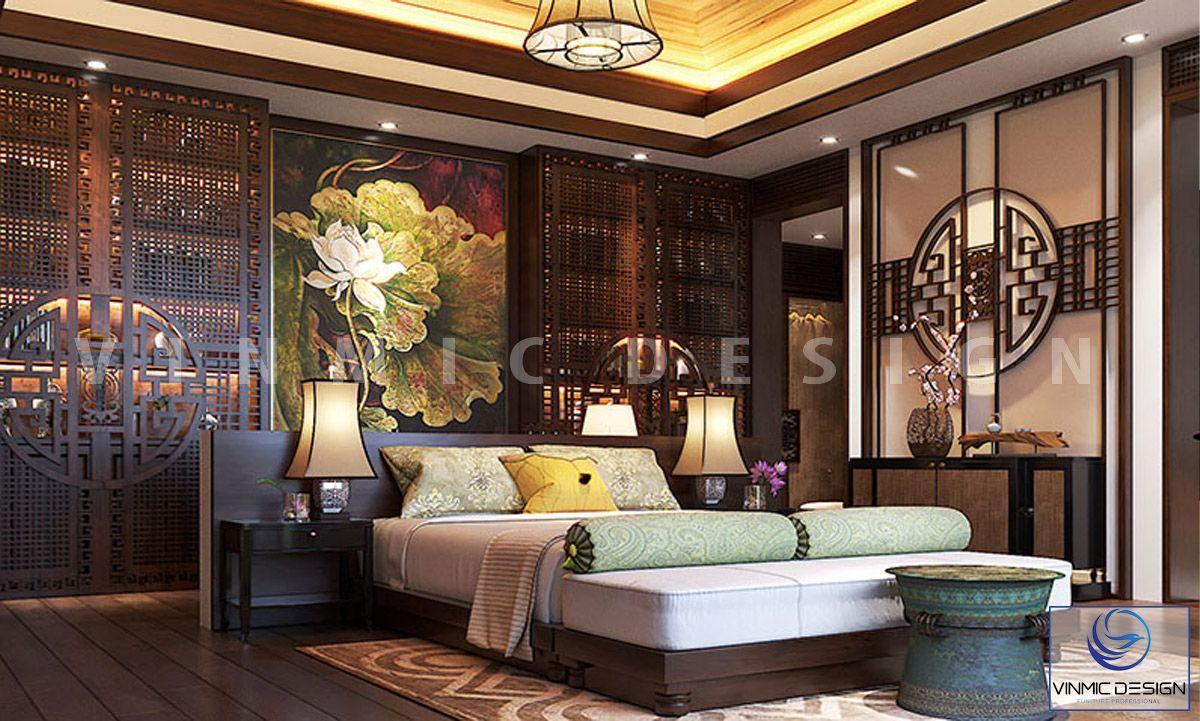 Thiết kế nội thất phòng ngủ phong cách Á Đông sang trọng, tinh tế