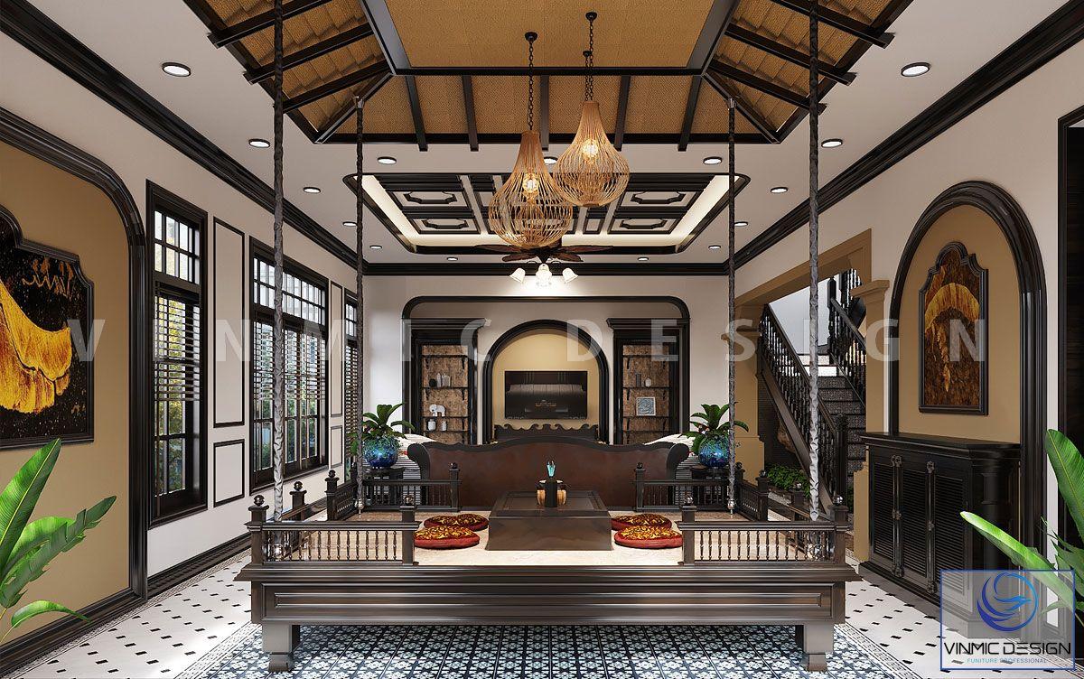 Thiết kế nội thất phòng khách phong cách Indochine đẹp