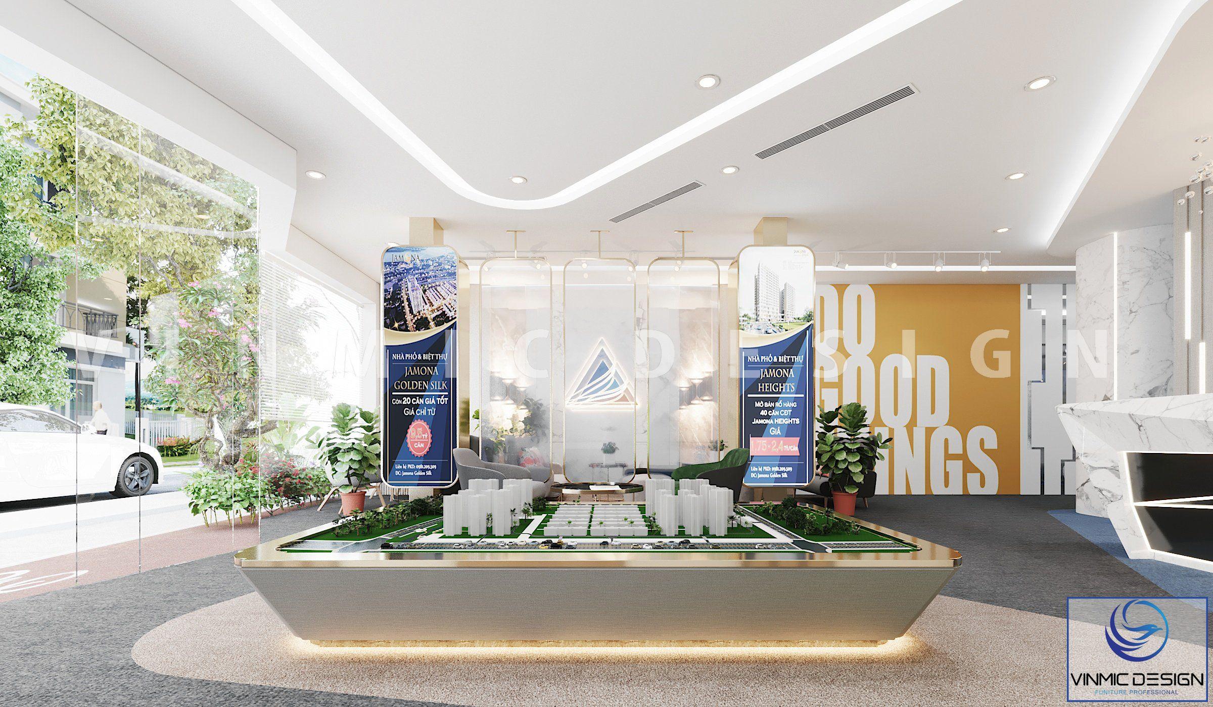 Thiết kế nội thất sảnh của công ty Đất Xanh - chi nhánh miền Trung