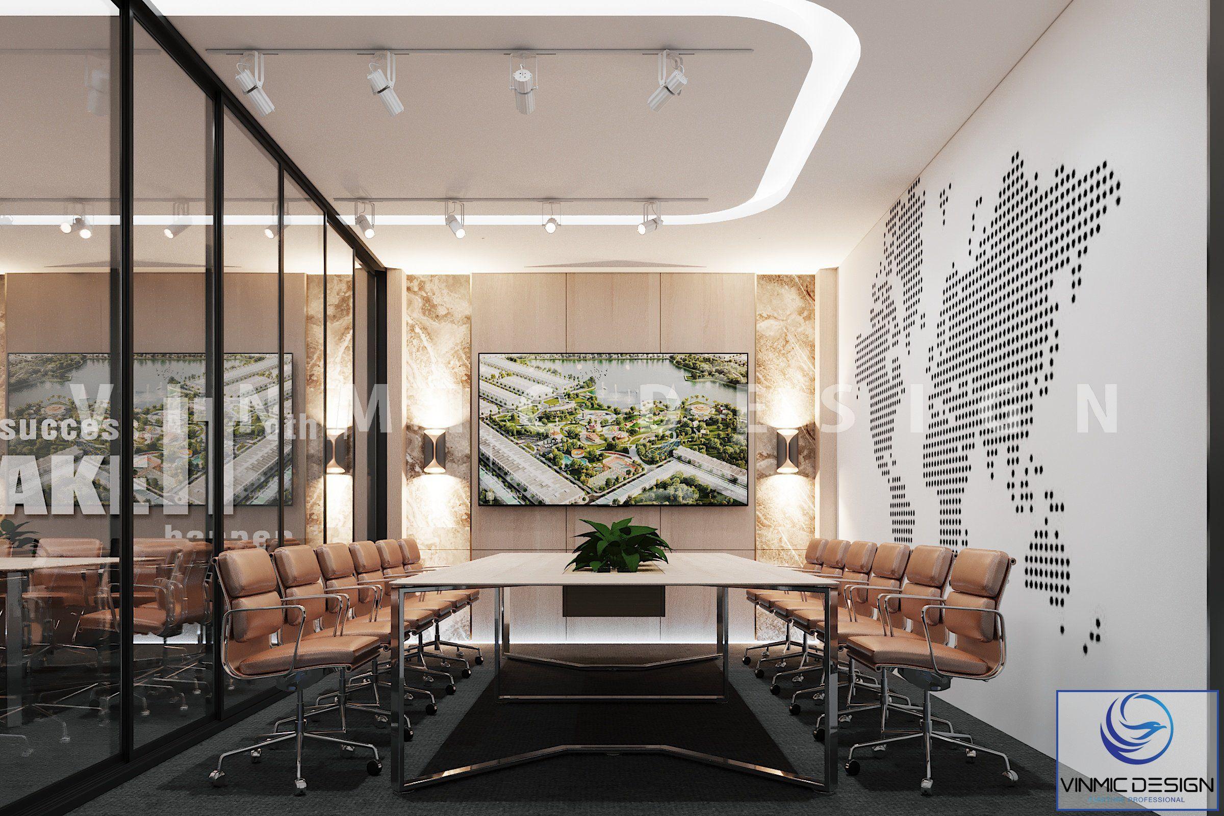 Thiết kế nội thất phòng họp đẹp tại văn phòng Đất Xanh