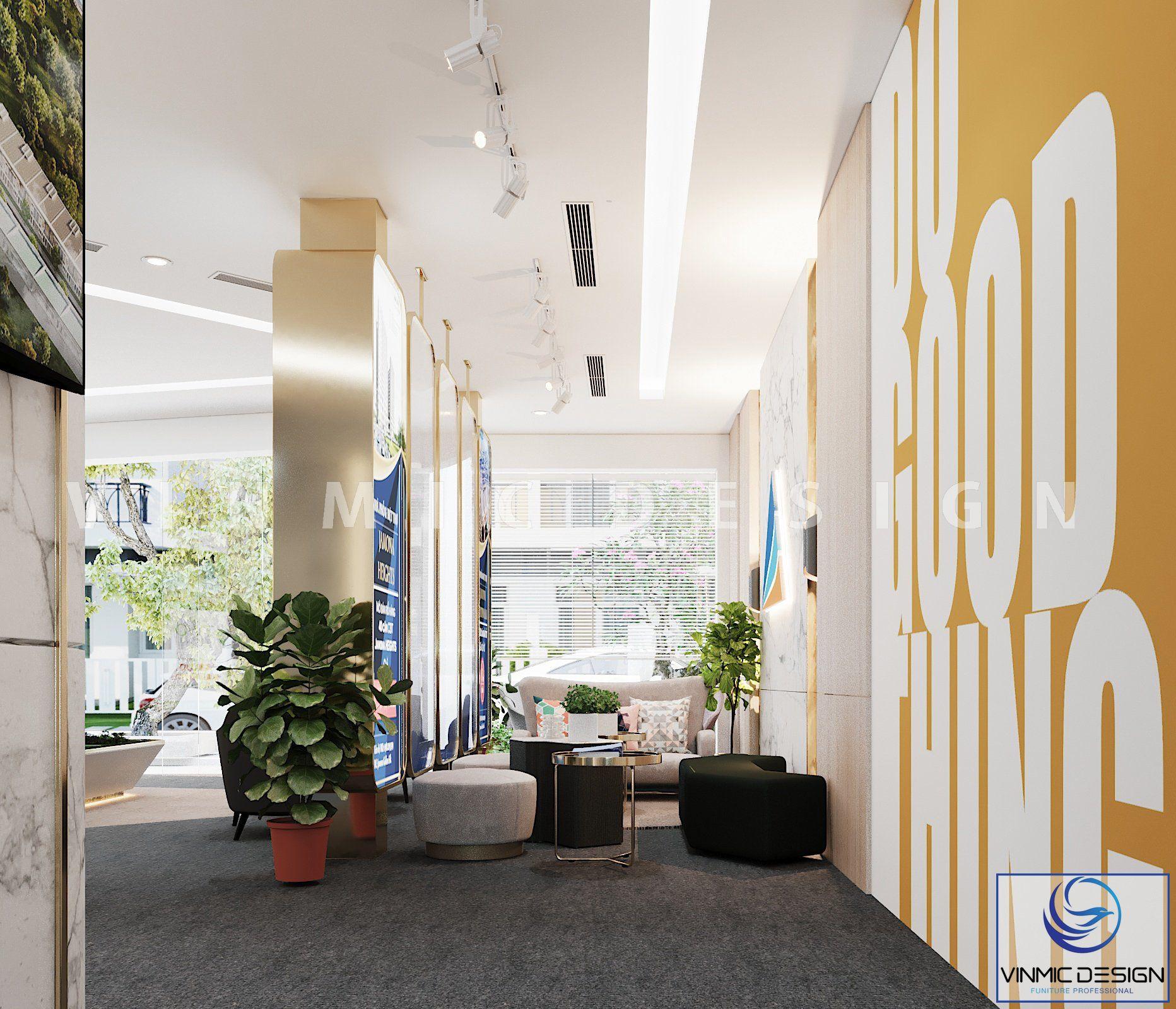 Thiết kế nội thất văn phòng trẻ trung, tươi mới tại văn phòng Đất Xanh