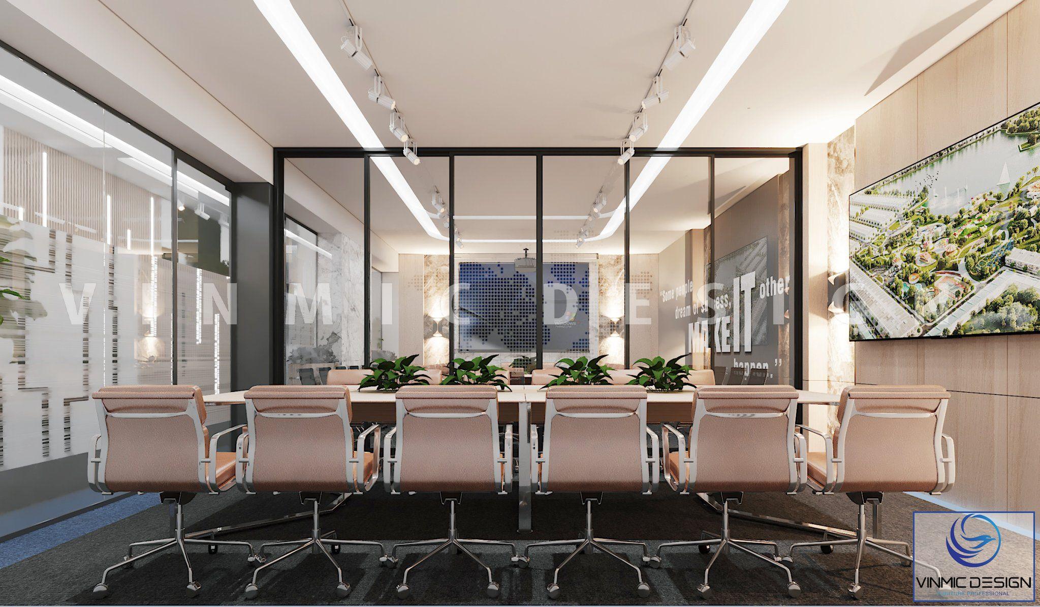 Thiết kế nội thất phòng họp ấn tượng tại văn phòng Đất Xanh