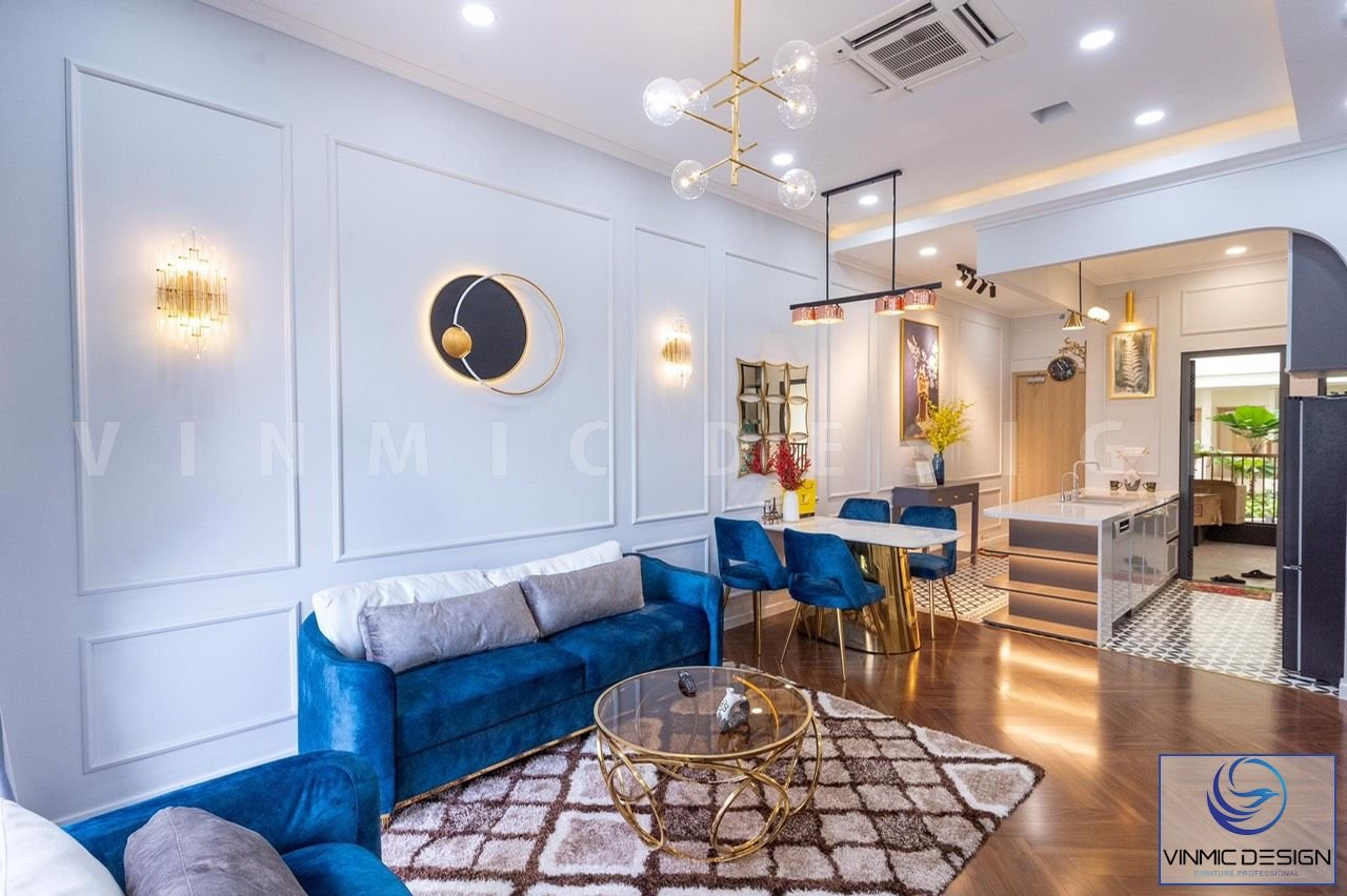 Không gian căn phòng khách trong mẫu thiết kế nội thất chung cư phong cách tân cổ điển.