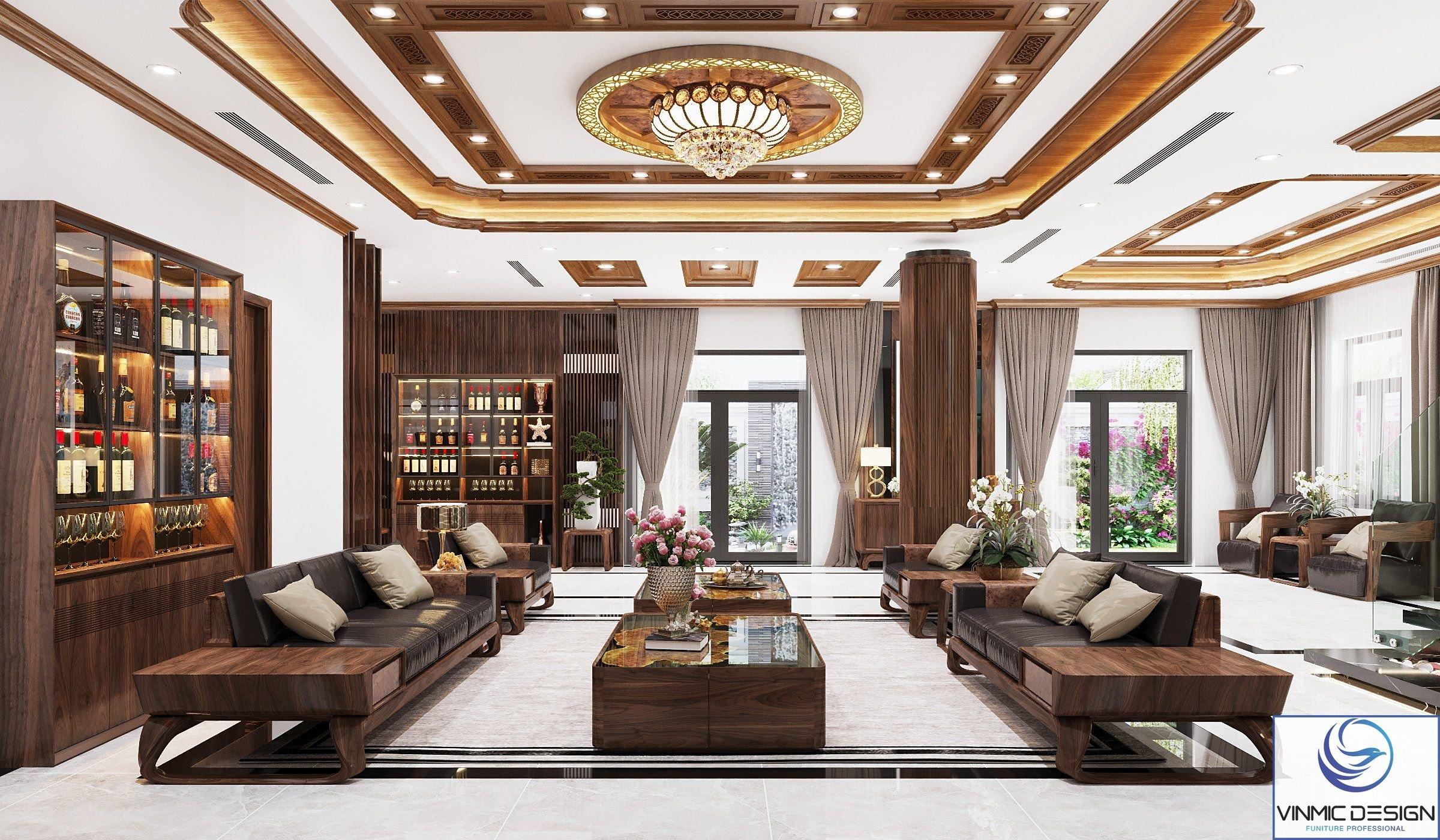 Không gian sang trọng thoáng đãng của phòng khách biệt thự thiết kế theo phong cách hiện đại.