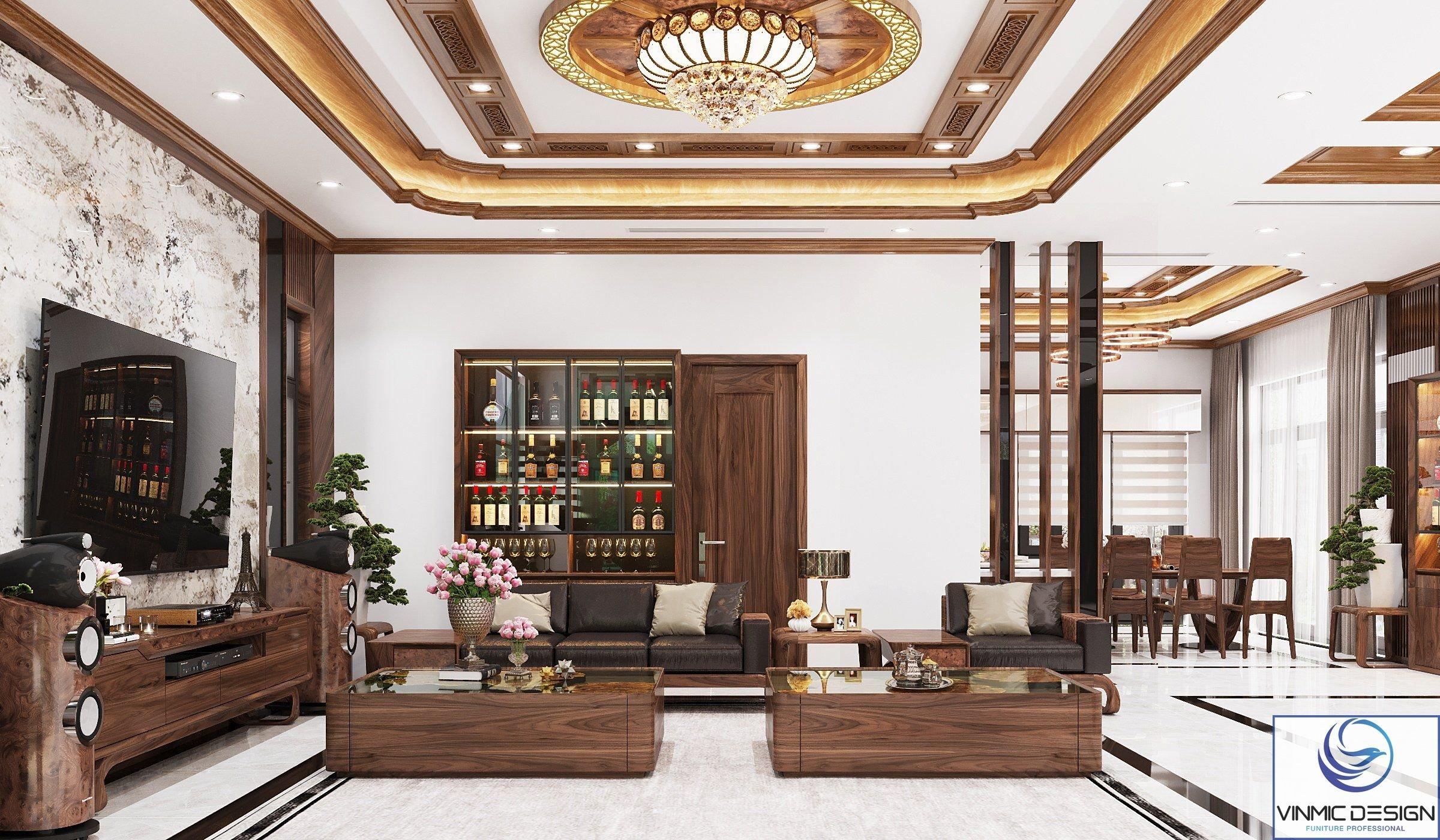 Lựa chọn chất liệu gỗ để thiết kế nội thất phòng khách là giải pháp vô cùng lý tưởng toát nên sự sang trọng cho ngôi biệt thự