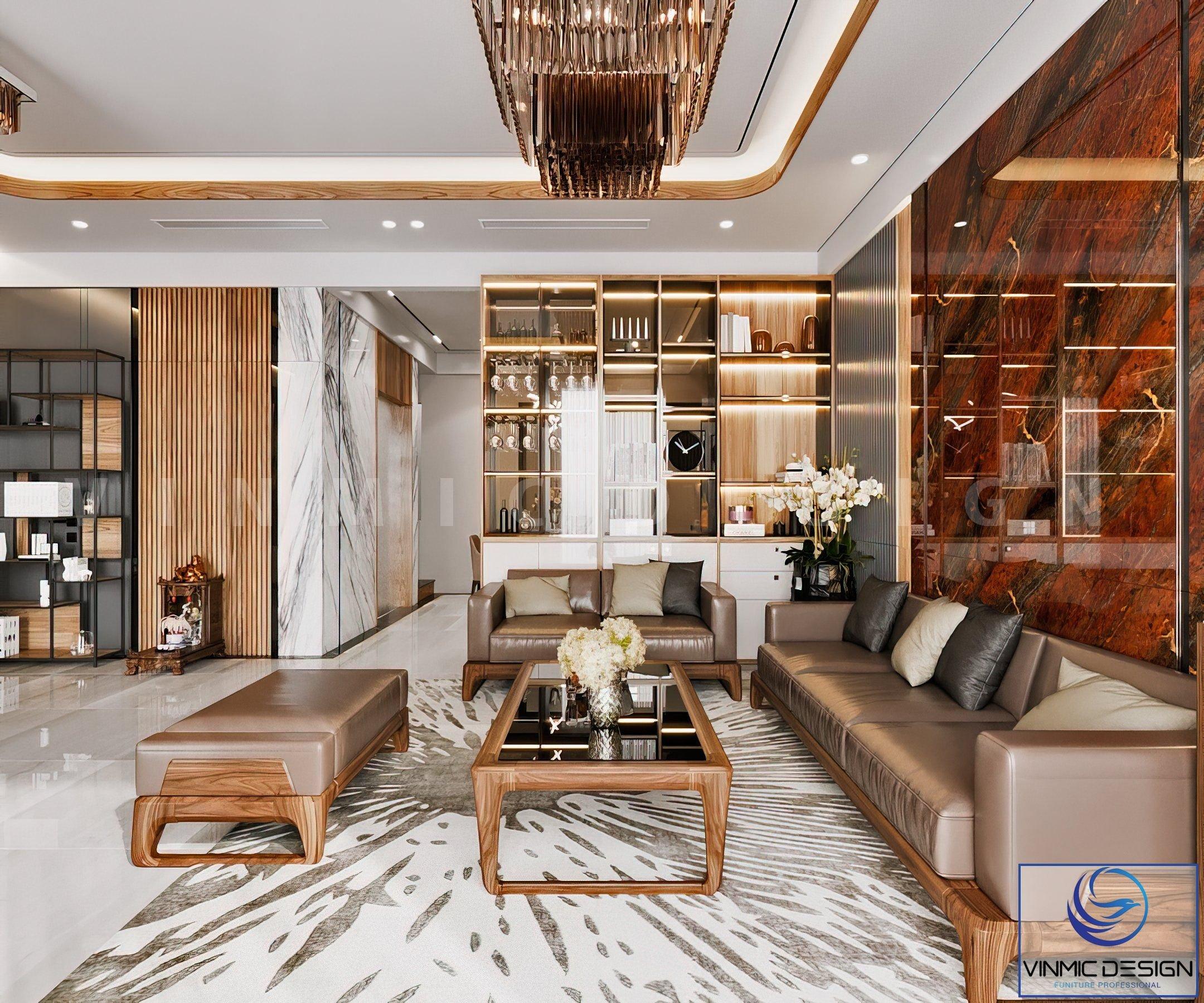 Vách sau sofo được làm bằng đá tự nhiên tôn lên vẻ sang trọng cho căn phòng.