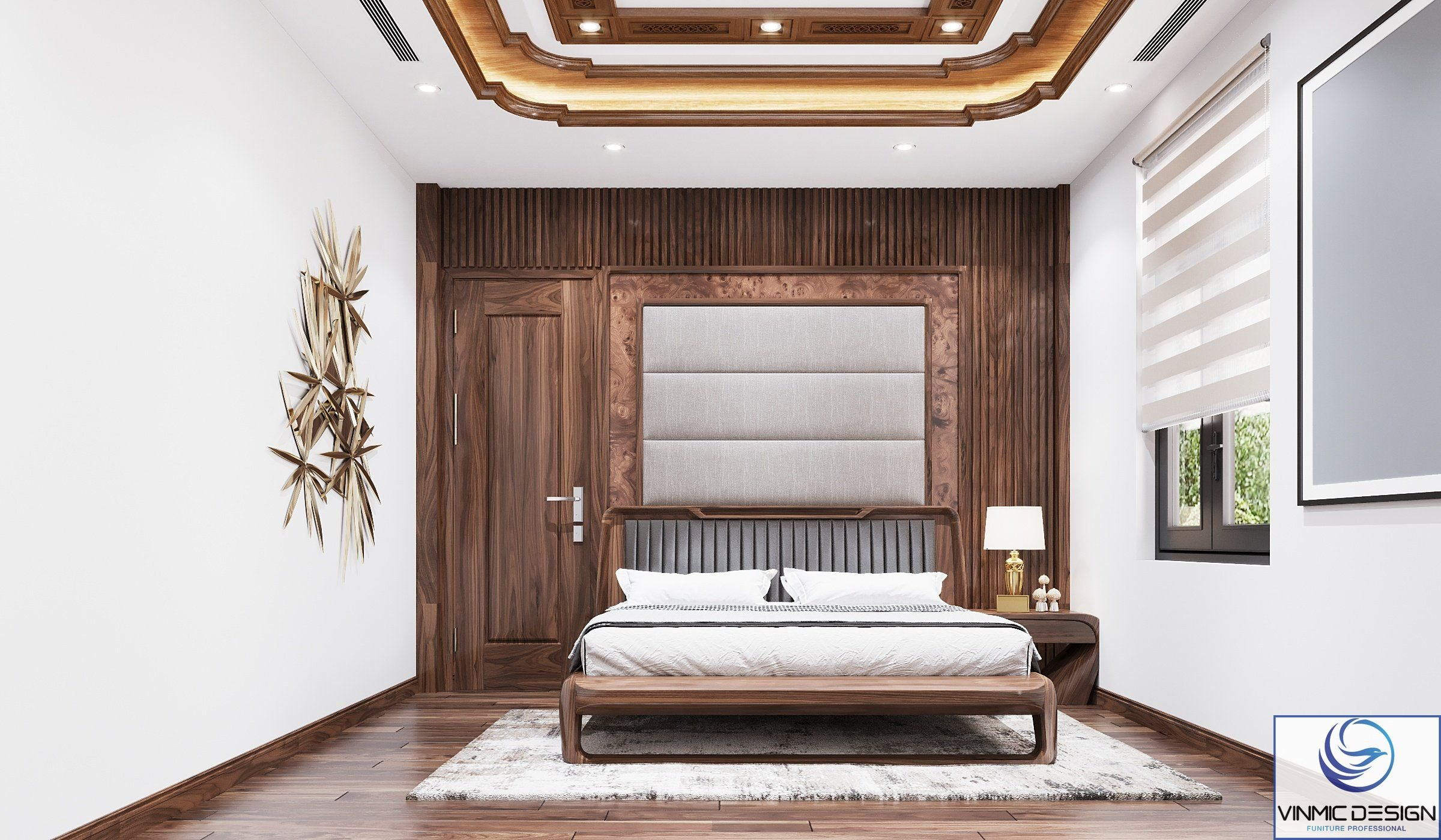Thiết kế phòng ngủ đơn giản mà vẫn tôn lên vẻ sang trọng.