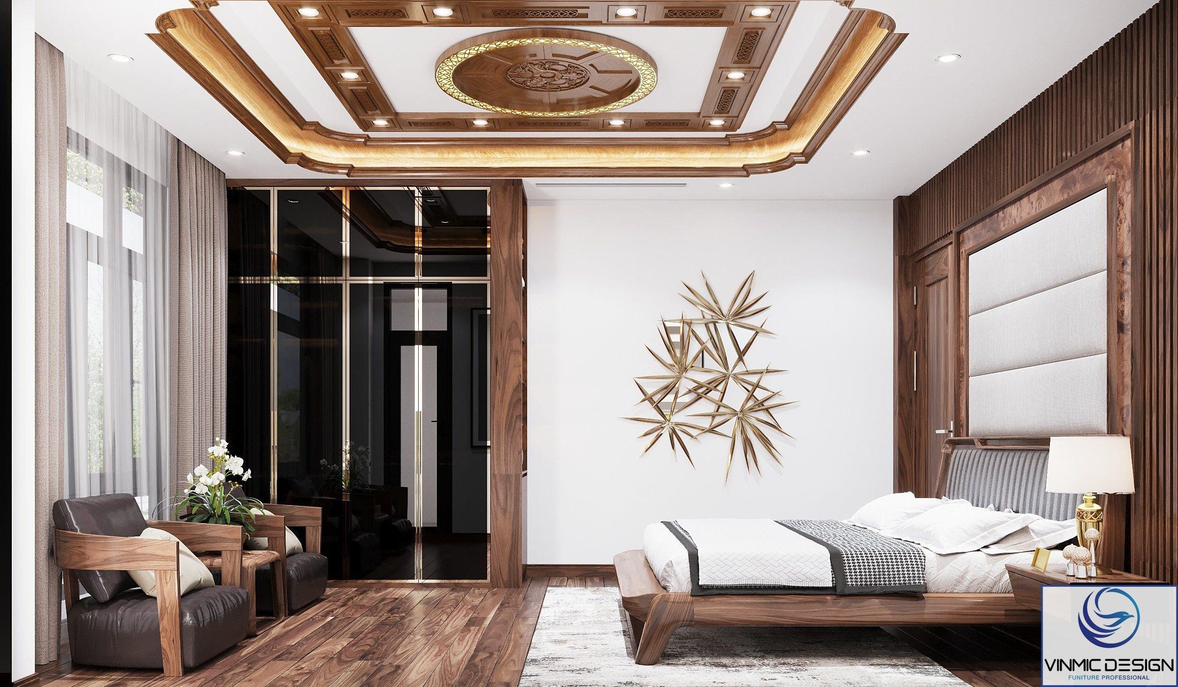 căn phòng sử dụng gỗ óc chó kết hợp với tủ quần áo thể hiện sự hài hoà.