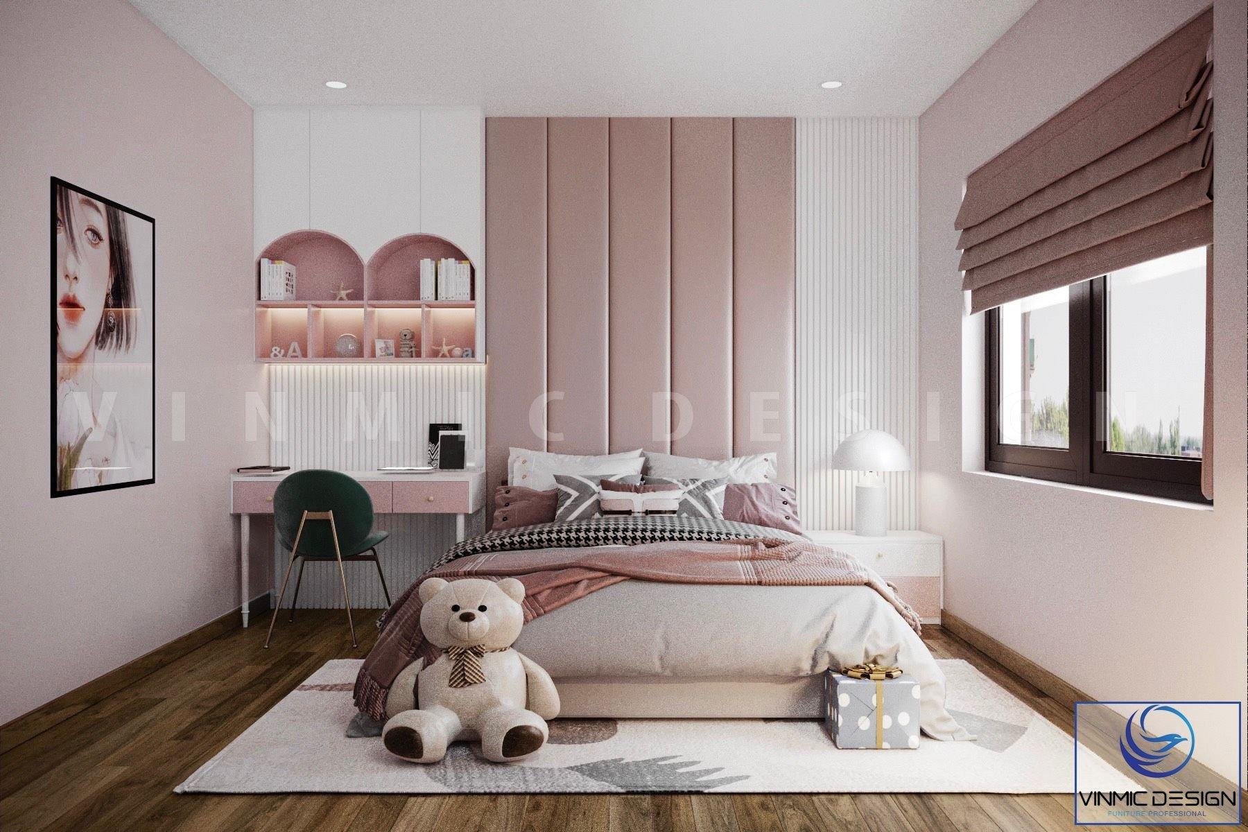 Thiết kế phòng ngủ bé gái với tông màu hồng.