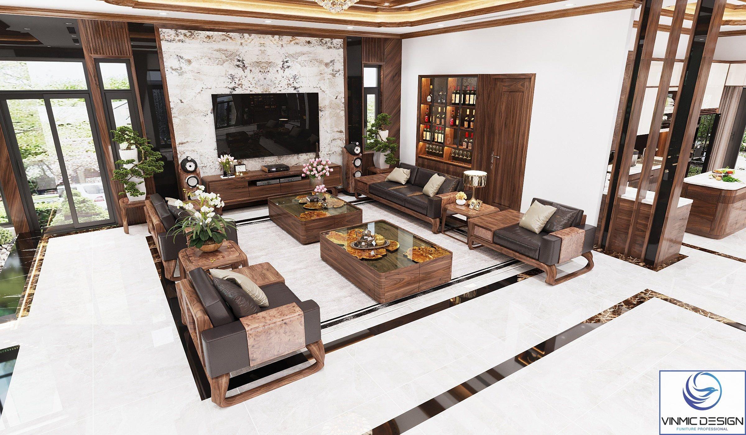Thiết kế phòng khách hiện đại, tinh tế và trang nhã.